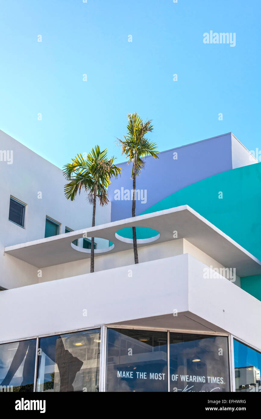 Modern architecture with palm trees on collins avenue art deco district south beach miami florida usa
