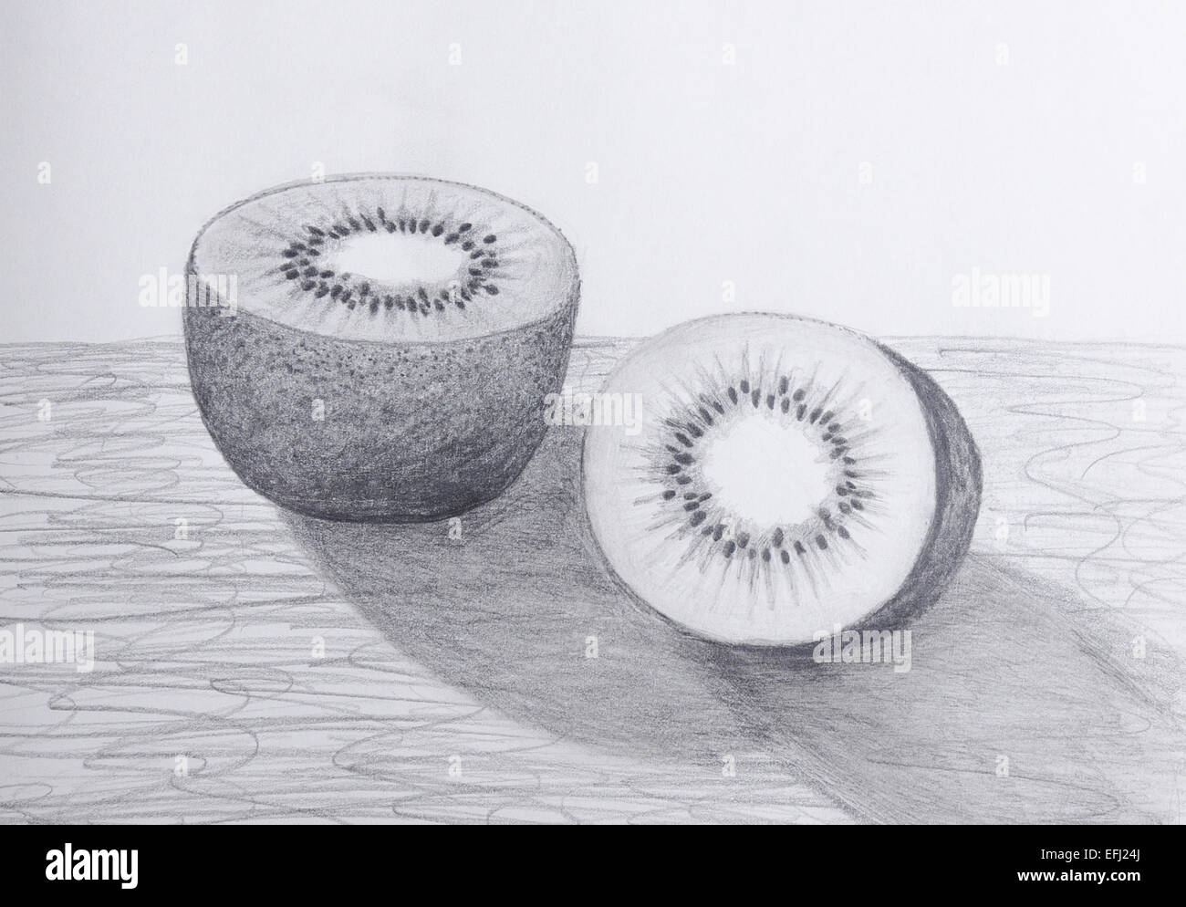 Pencil Drawing Of A Sliced Kiwi Fruit Grayscale On