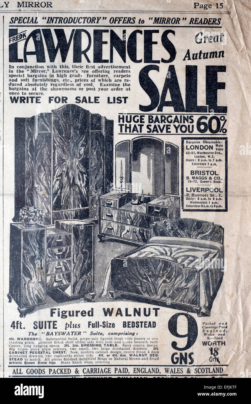 furniture sale advertisement. stock photo newspaper advertisement cutting from the late 1930s early 1940s for lawrences store furniture sale e