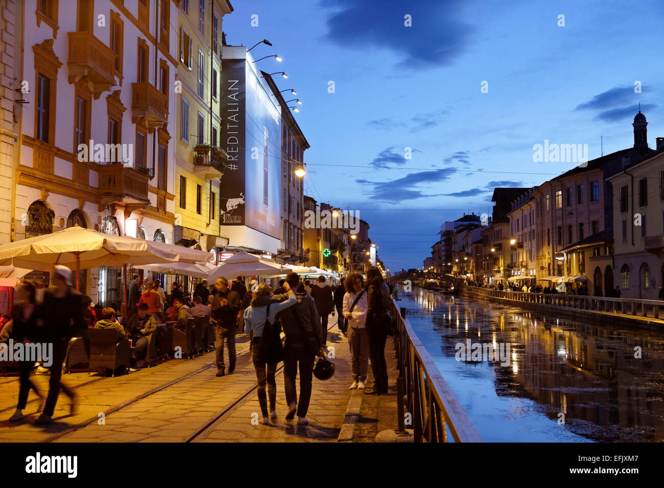 restaurants and bars along a canal navigli quarter milan
