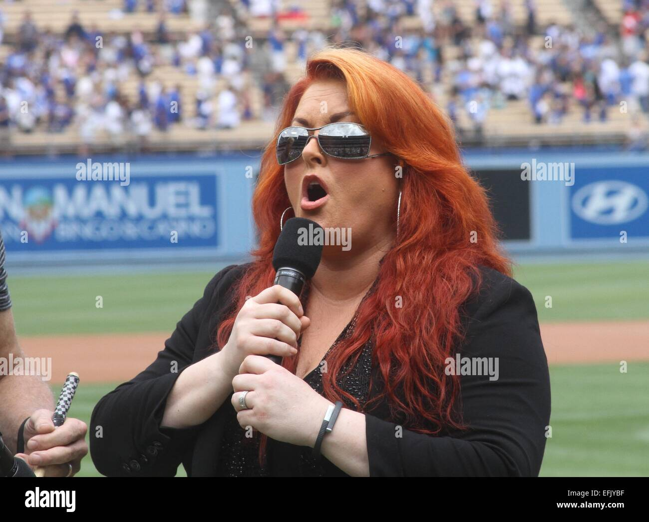 Celebrities at the L.A. Dodgers game between the Chicago Cubs and Los Stock Photo, Royalty Free ...