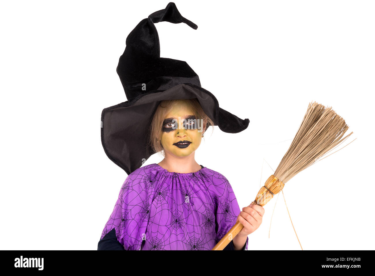 Girl Face Paint Halloween Witch Costume Stock Photos & Girl Face ...