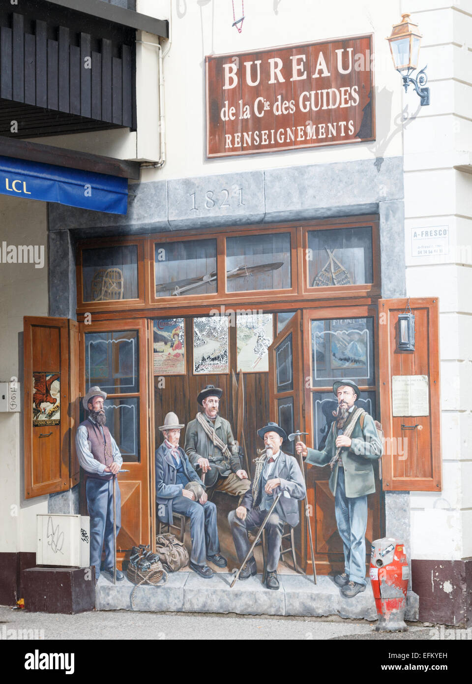 Mural painted on the wall of a building in Chamonix celebrates the