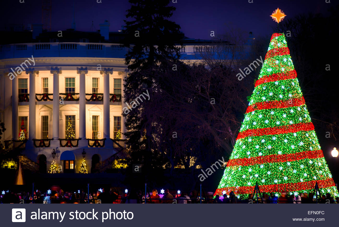 Dc Christmas Tree Part - 34: Stock Photo - The White House Christmas Tree On The Ellipse In Washington DC.  The South Portico Of The White House Is In The Background