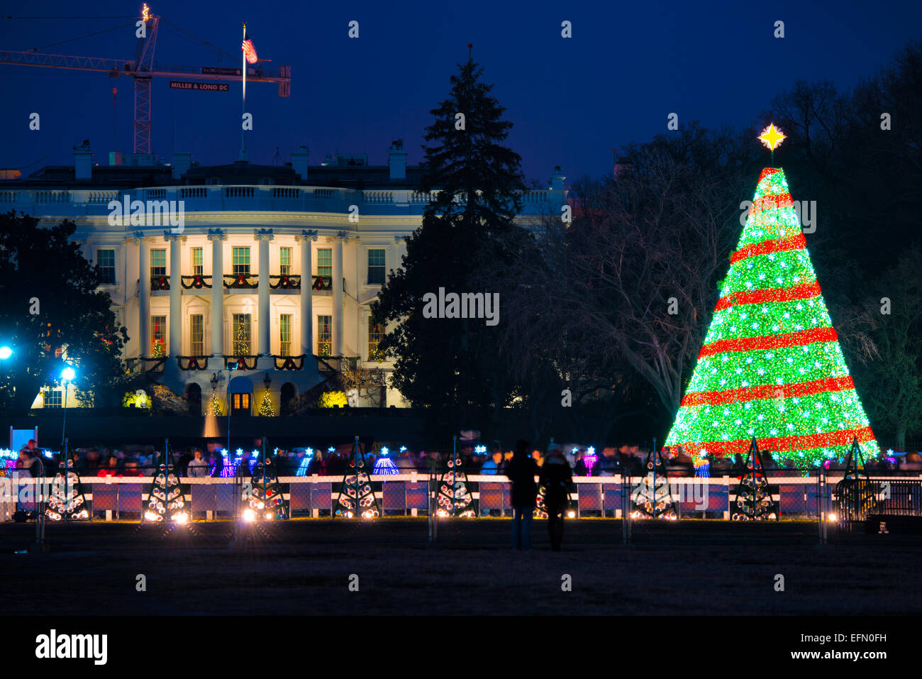 Dc Christmas Tree Part - 46: Stock Photo - The White House Christmas Tree On The Ellipse In Washington DC.  The South Portico Of The White House Is In The Background