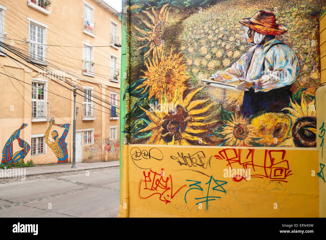 Street art mural of van gogh painting sunflowers decorates for Mural van gogh