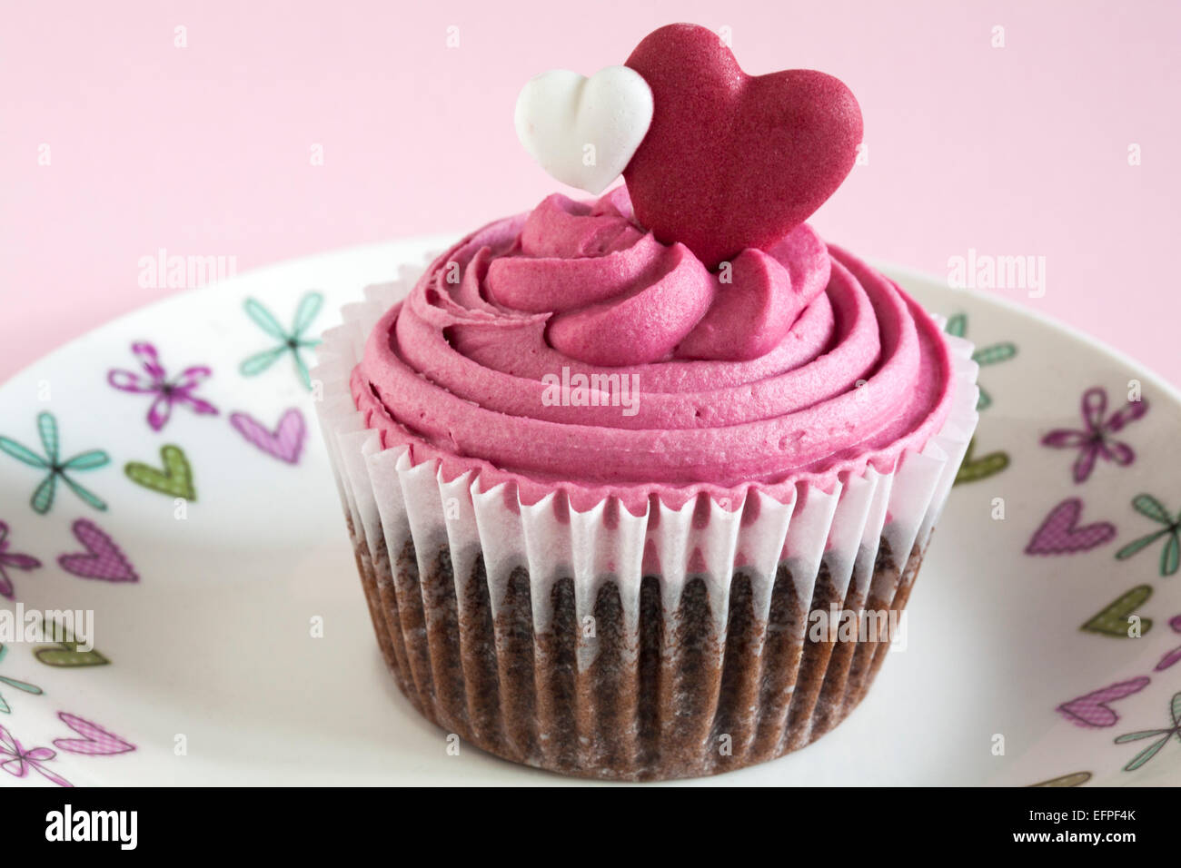 Marks U0026 Spencer Sweet Heart Cupcake On Decorative Hearts Plate Set On Pink  Background   Ideal For Valentines Day, Valentine Day