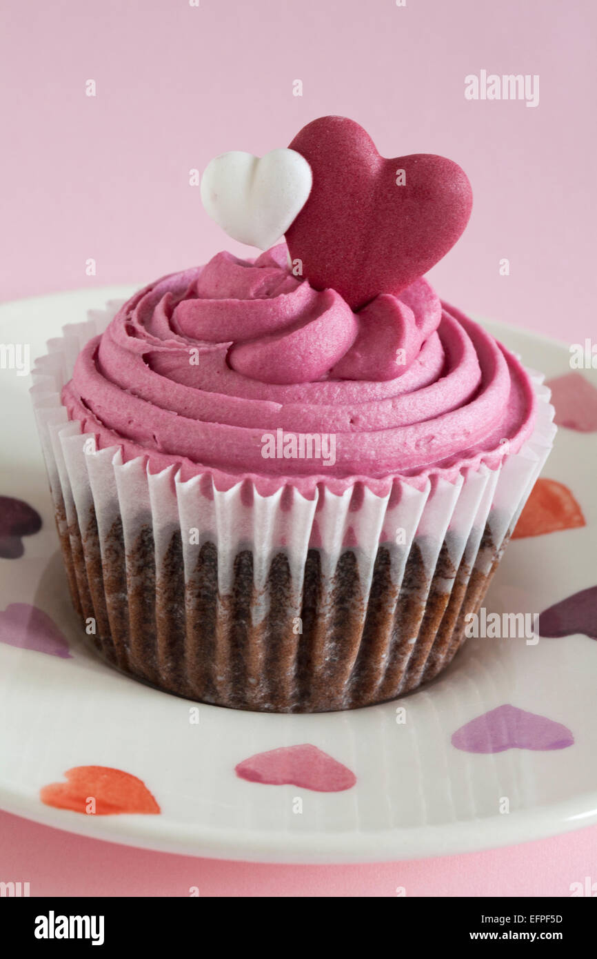 Lovely Marks U0026 Spencer Sweet Heart Cupcake On Hearts Plate Set On Pink Background    Ideal For Valentines Day, Valentine Day Awesome Ideas