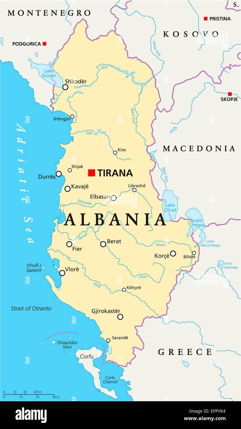 Albania Political Map With Capital Tirana National Borders Stock - Political map of albania
