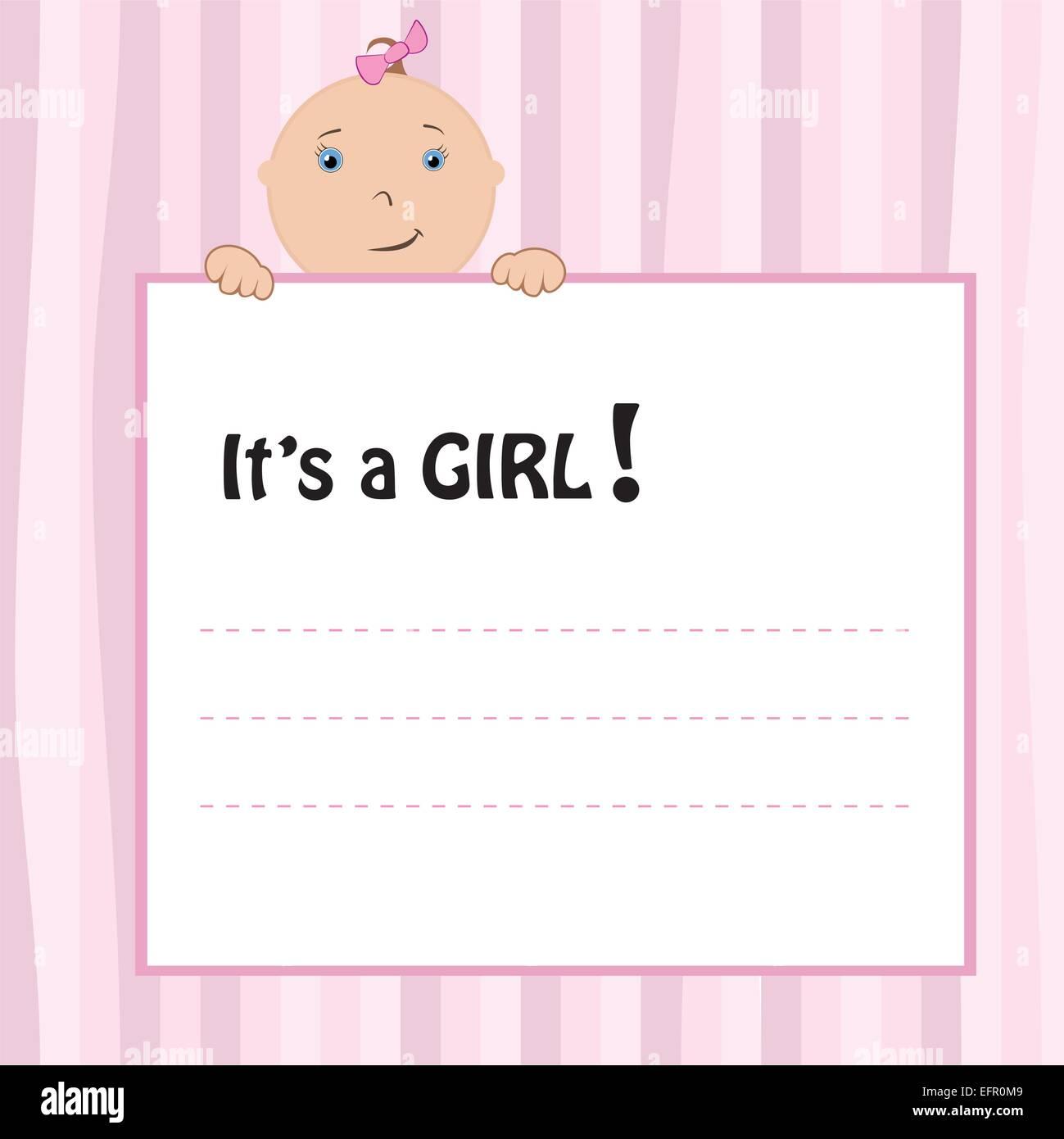 Birth Announcement Card baby girl vector illustration – Baby Girl Birth Announcement Cards