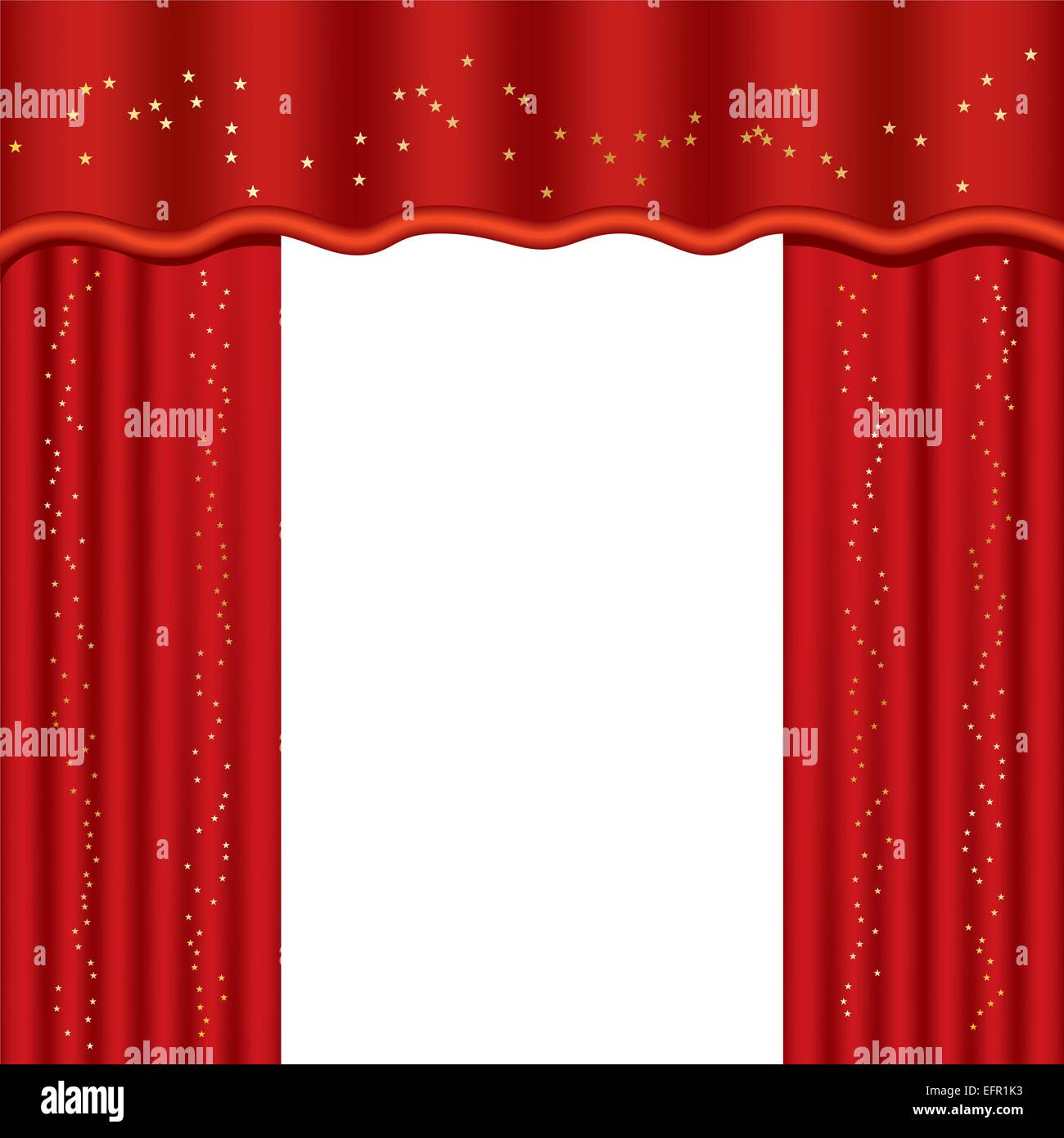 Used Theatrical Drapes: Theater Curtains With Copy Space, Vector Illustration