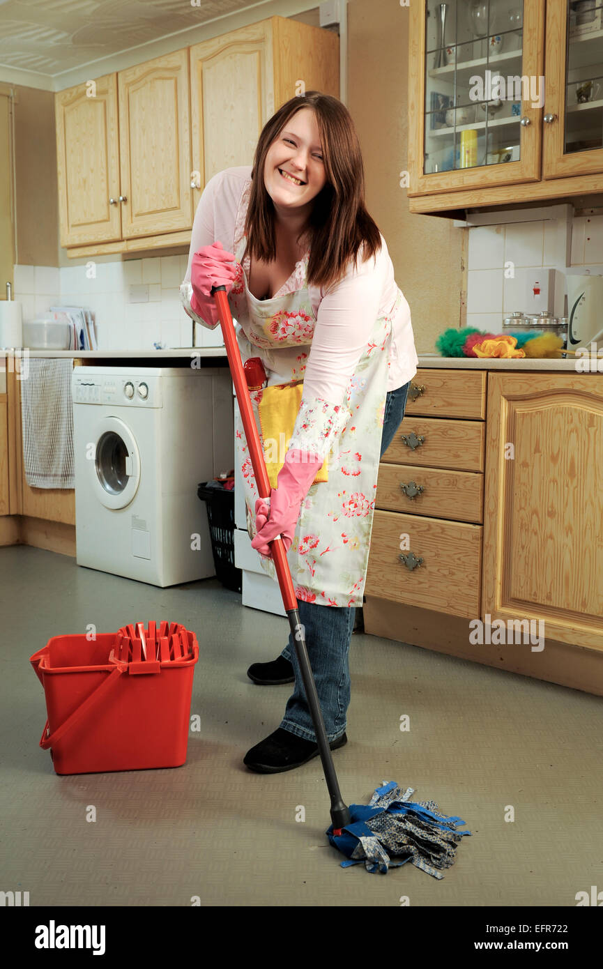 Mop Kitchen Floor Young Woman Mopping Kitchen Floor Stock Photos Young Woman