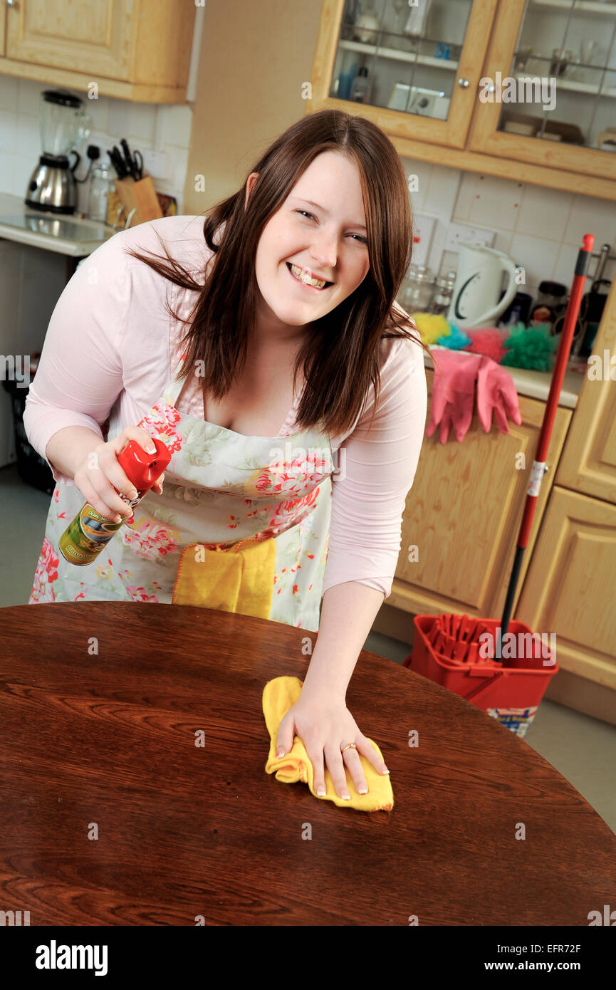Mopping Kitchen Floor Young Woman Mopping Kitchen Floor Stock Photos Young Woman