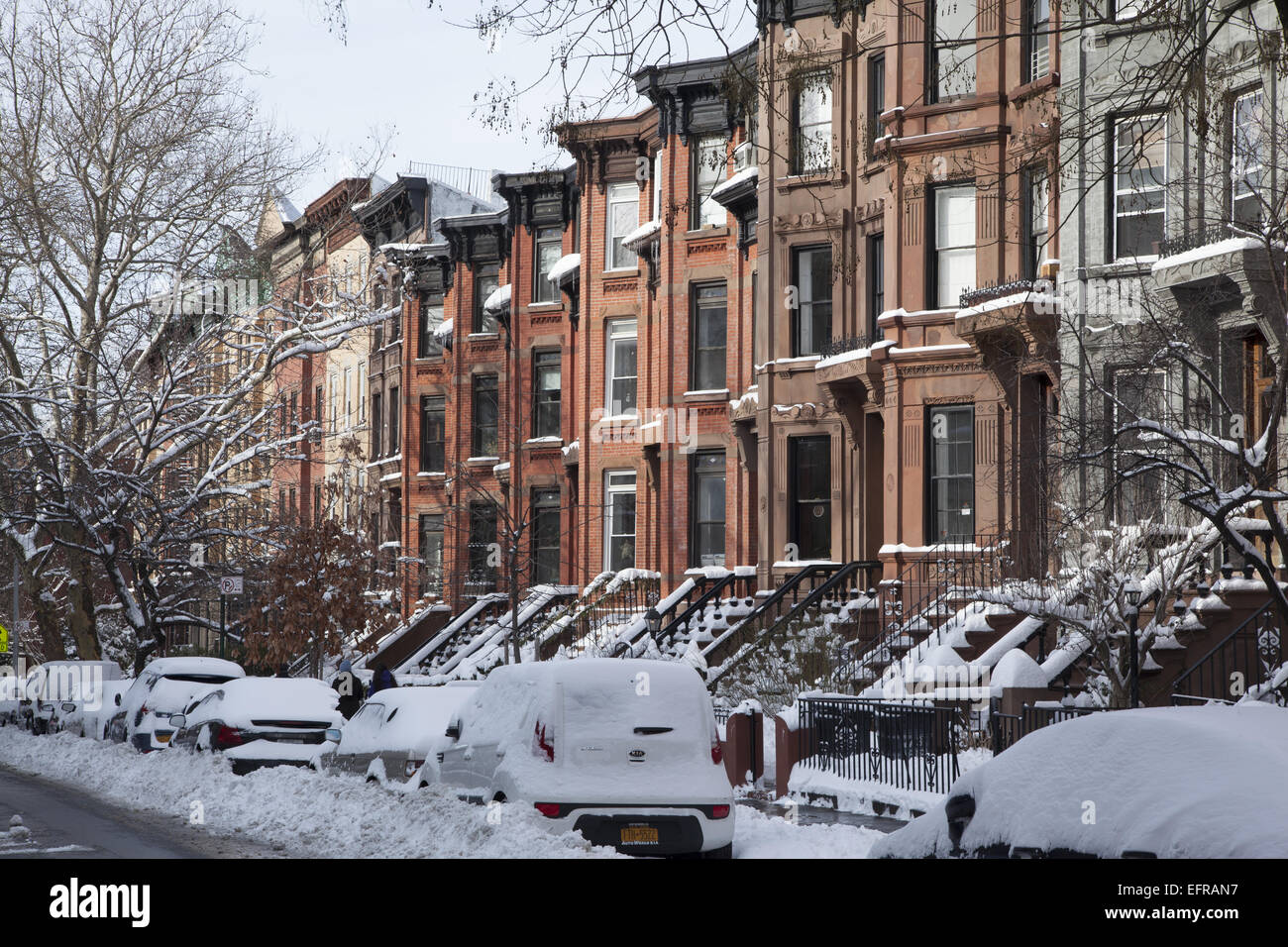 Homes in park slope brooklyn after a snow stock photo for Buy house in brooklyn