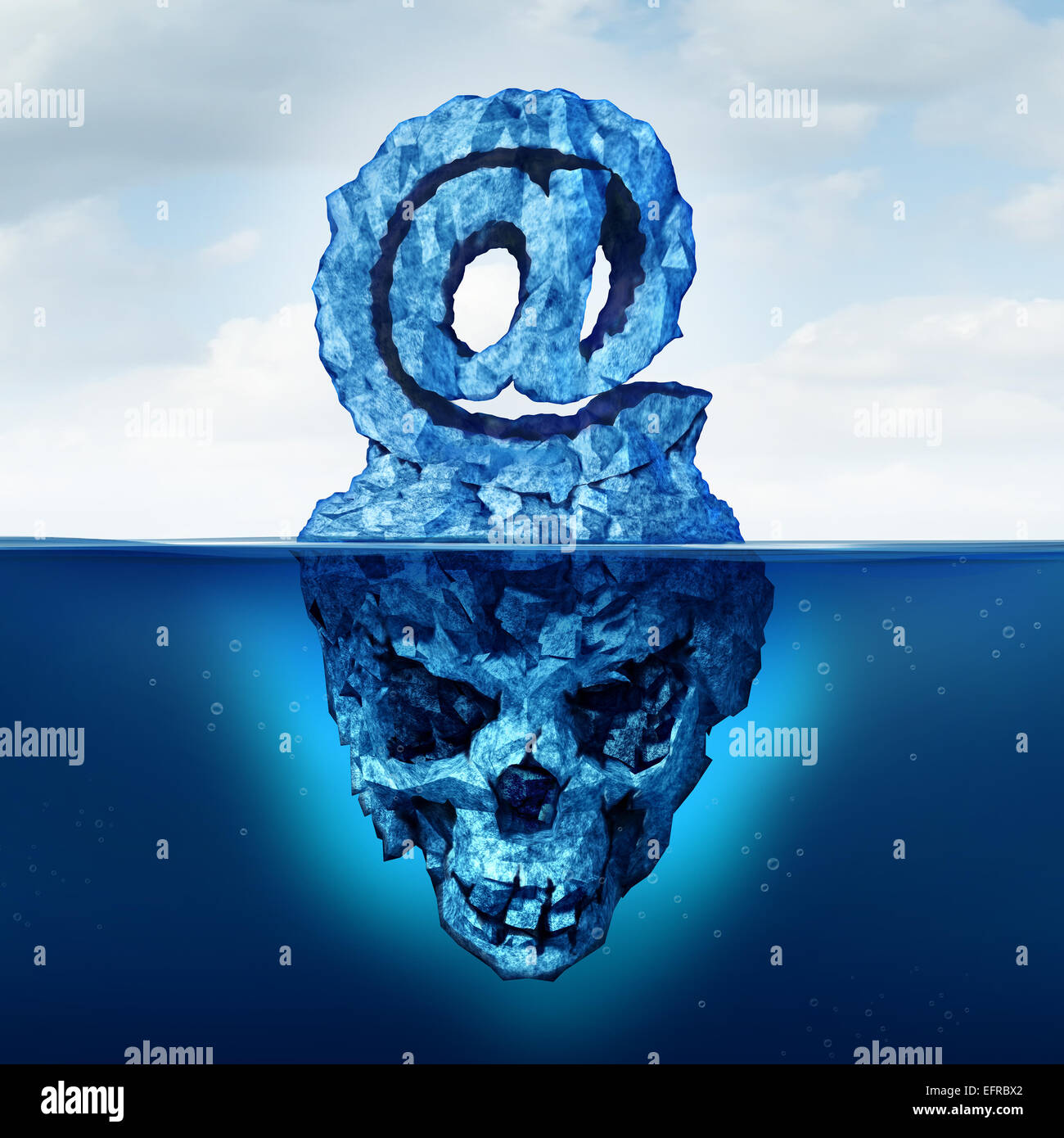 Email risk and internet communication danger as an iceberg shaped email risk and internet communication danger as an iceberg shaped as an ampersand e mail symbol with a skull shape hidden under the water as a metaphor for biocorpaavc
