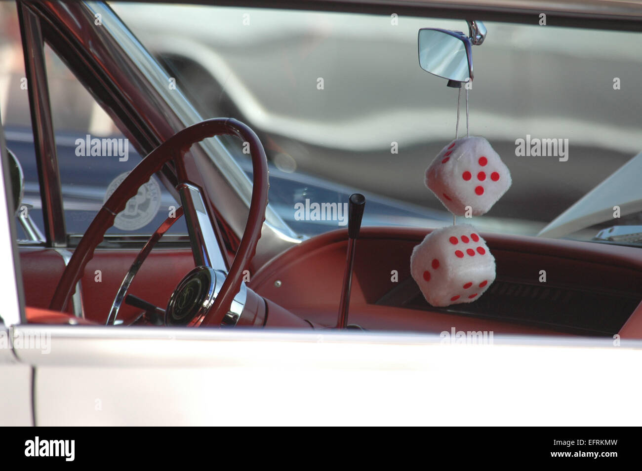Car interior hanging - Interior Driver S Side Of Vintage Classic Car With Fuzzy Dice Hanging From The Rear View Mirror
