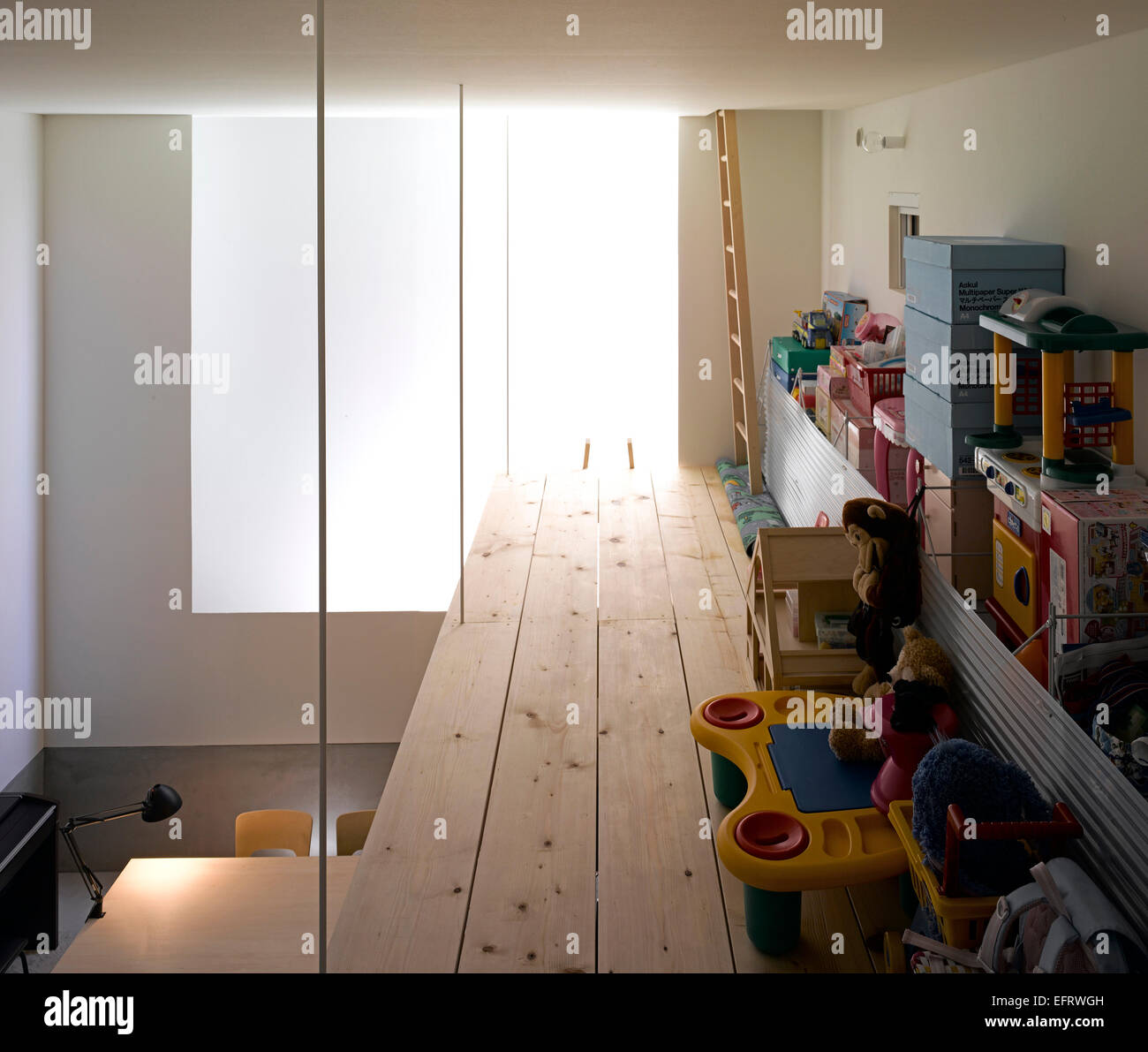 Mezzanine Area hokkaido house, interior view showing childrens' mezzanine play