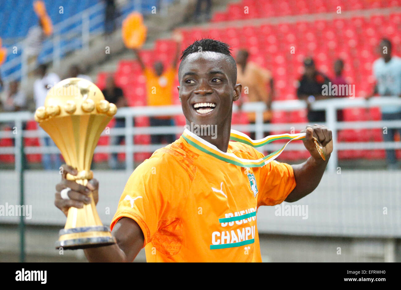 Espanyol defender Eric Bailly celebrates winning the Africa Cup of
