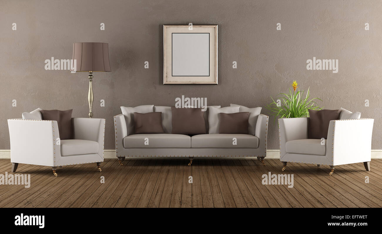 Living Room In Old Style With Elegant Sofa And Two Armchairs   3D Rendering