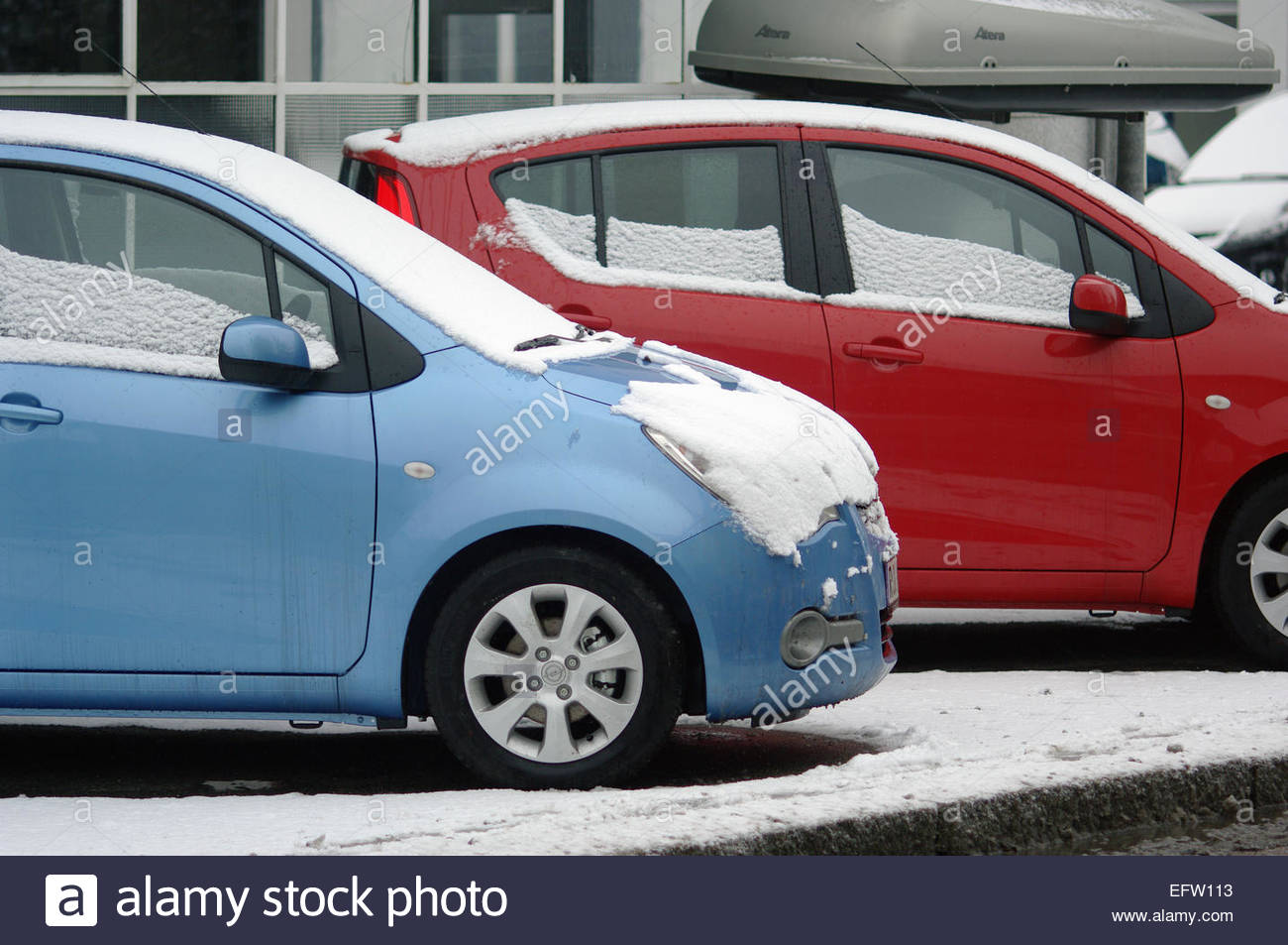 Blue Red Small Modern (Ugly) Cars Parked Parking Automobiles Snowy ...