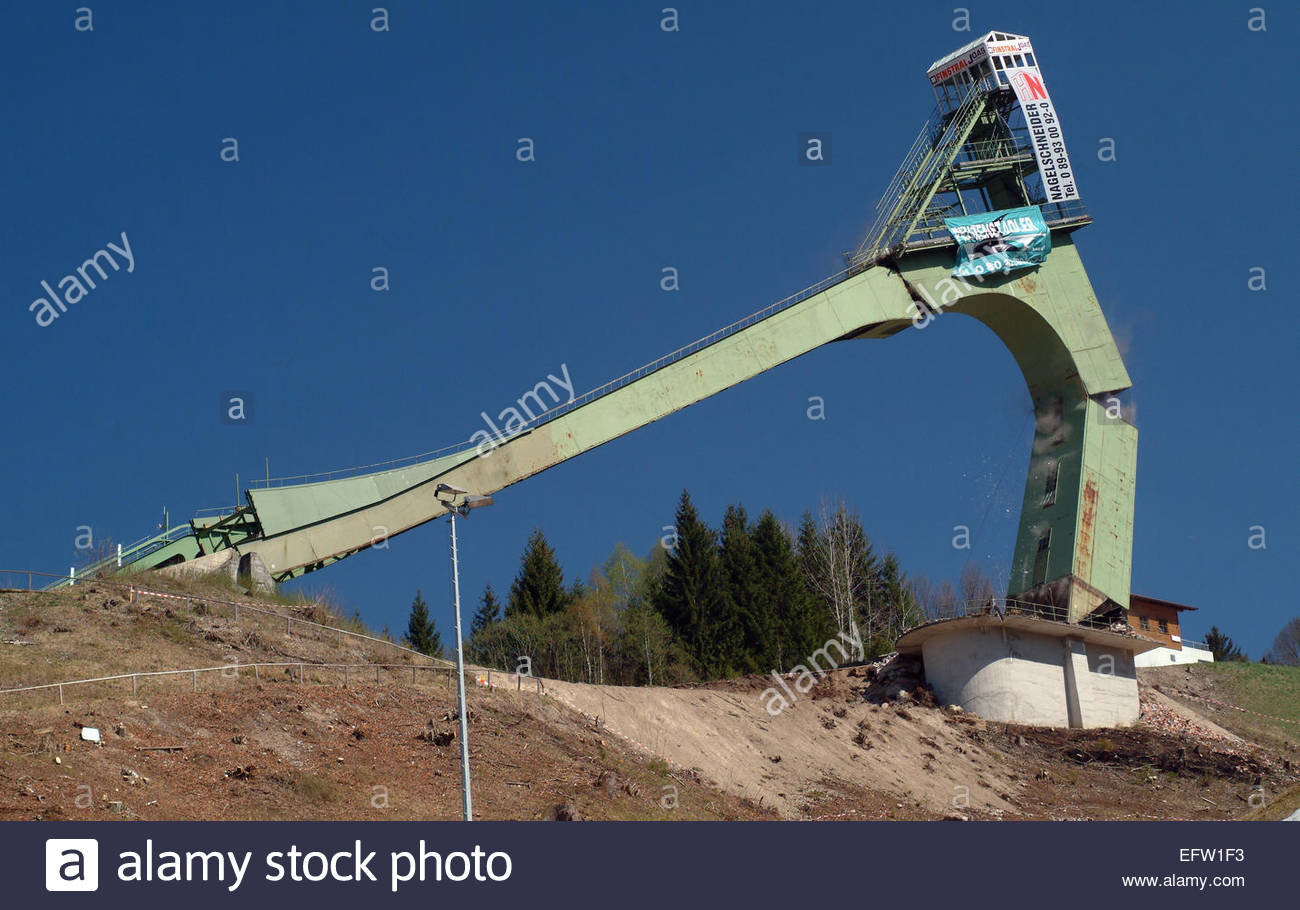Building Demolition With Explosives : Sequence explosive demolition of a german olympic ski ramp