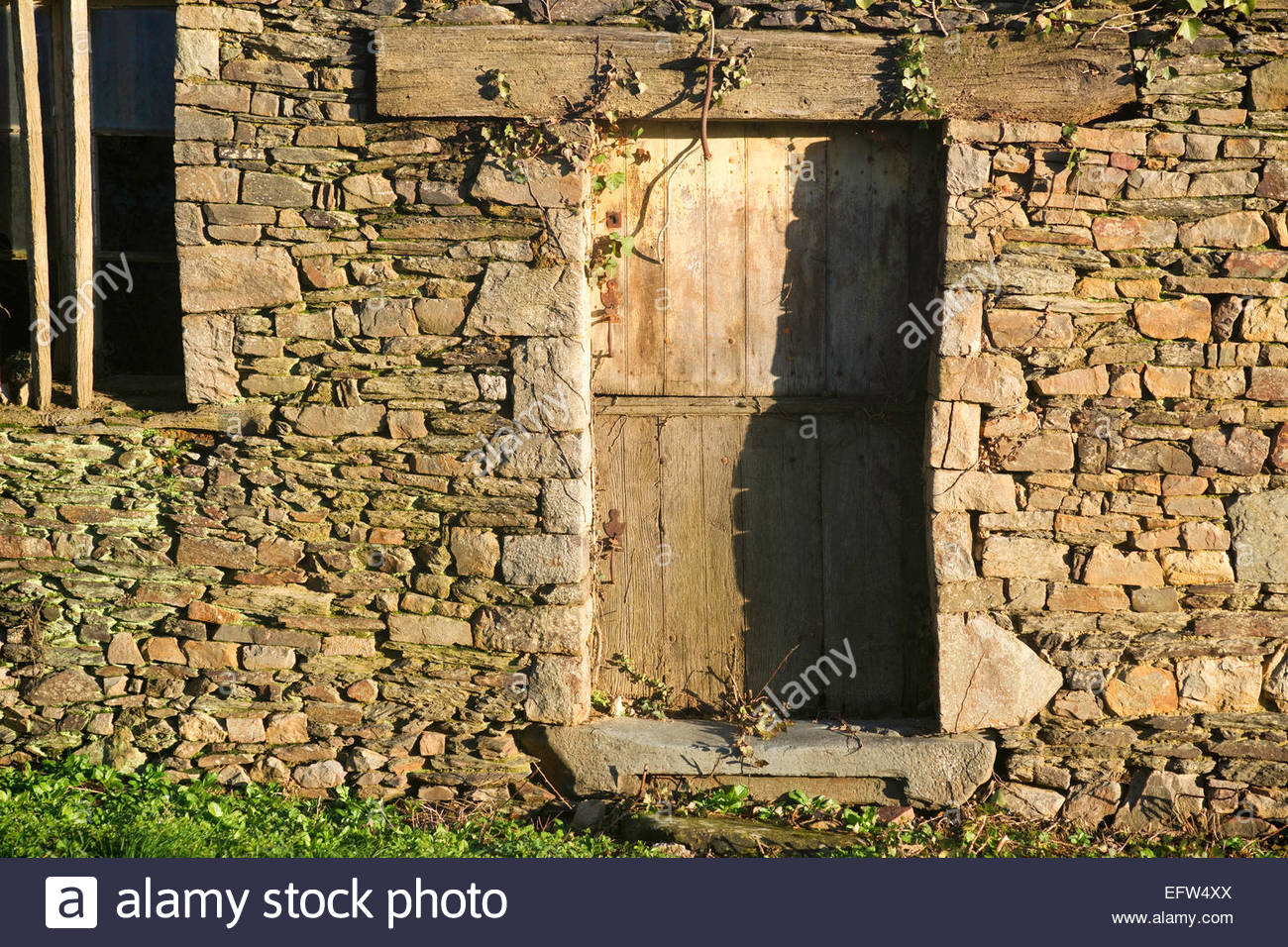 Brittany Farmhouse Natural Stone Wall Door Nobody Rustic Rural Entrance Doorway France Europe French