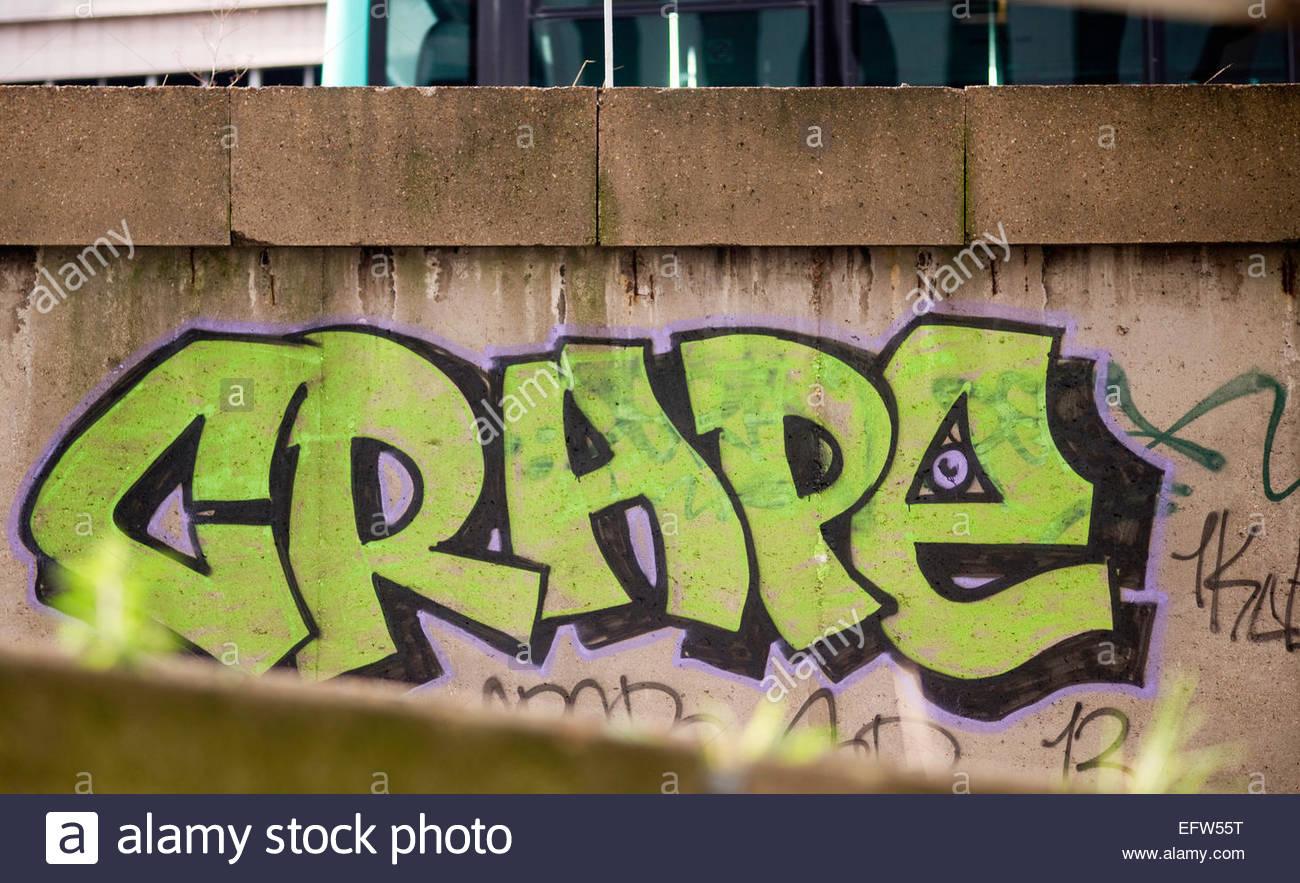 Graffiti wall writing - Paris Bagnolet Area Graffiti Street Art Writing On Concrete Wall Nobody France Europe French