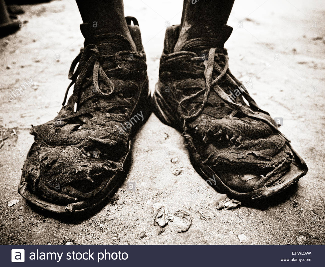 Worn Out Feet Shoes Footwear Toe Toes Holes Shoe Used Old Secondhand Stock Photo Royalty Free