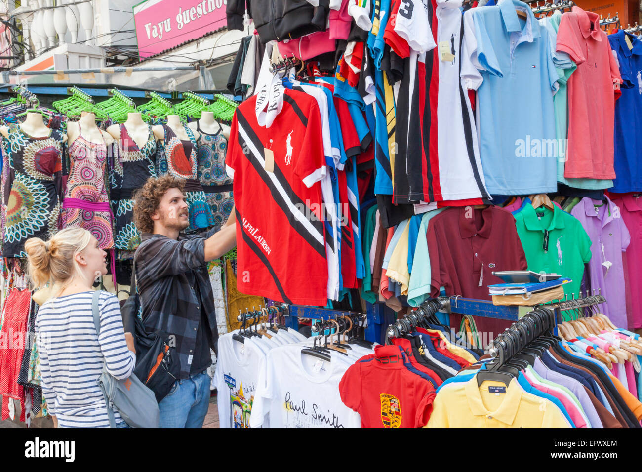Thailand, Bangkok, Khaosan Road, Couple Shopping in ...