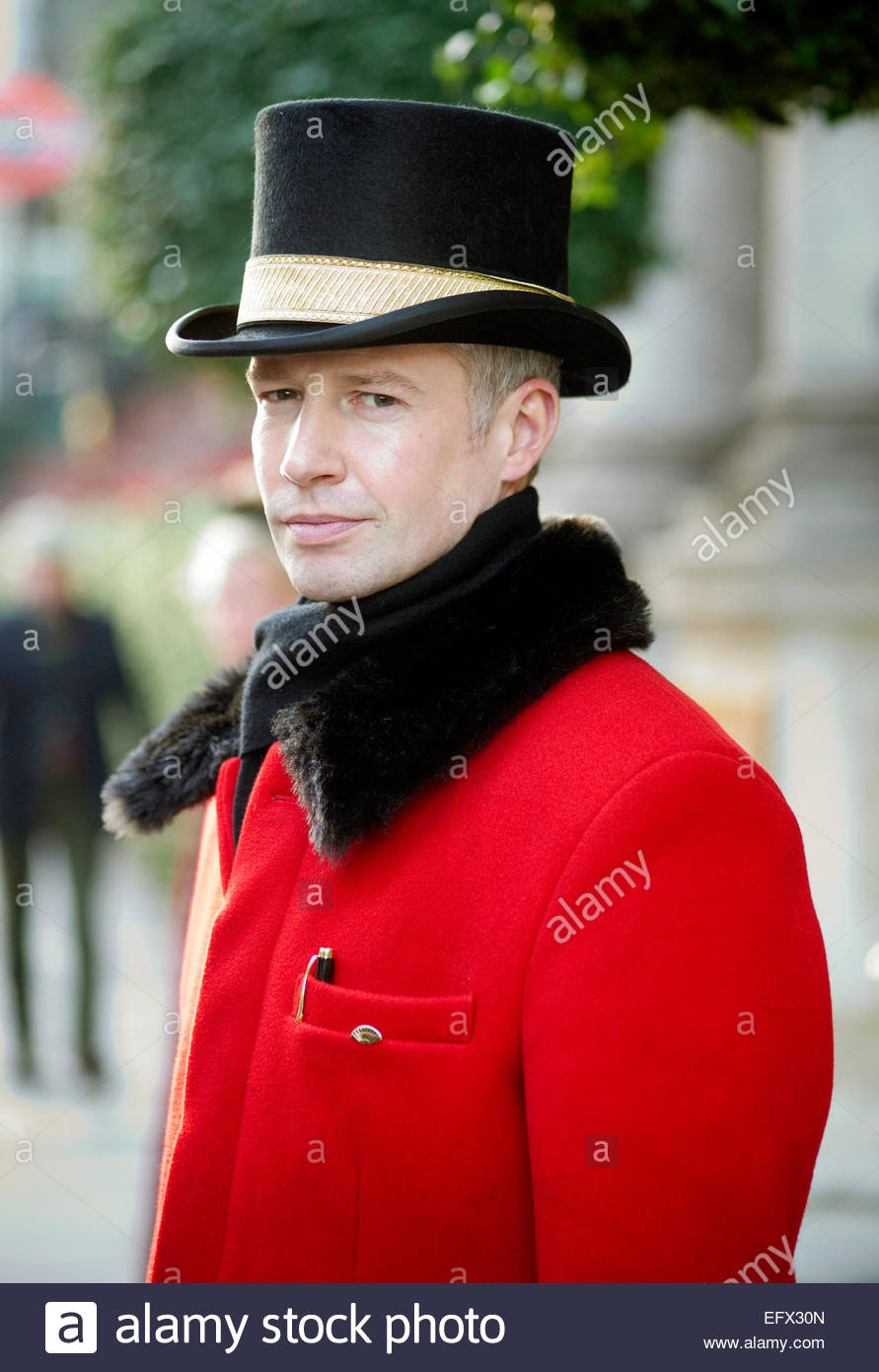 Knightsbridge Man Doorman United Kingdom Great Britain British UK Central London People Person Outdoor Exterior -  sc 1 st  Alamy & Doorman wearing a top hat in front of the lobby of the Savoy Hotel ... pezcame.com