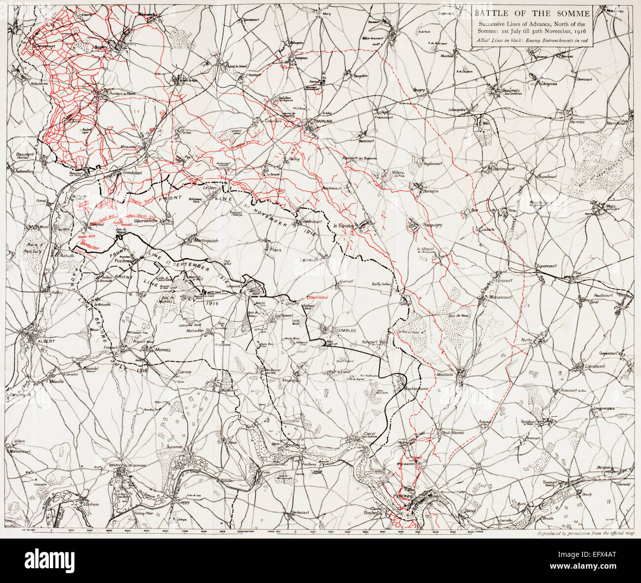 Map of the Battle of the Somme, or the Somme Offensive in the ...