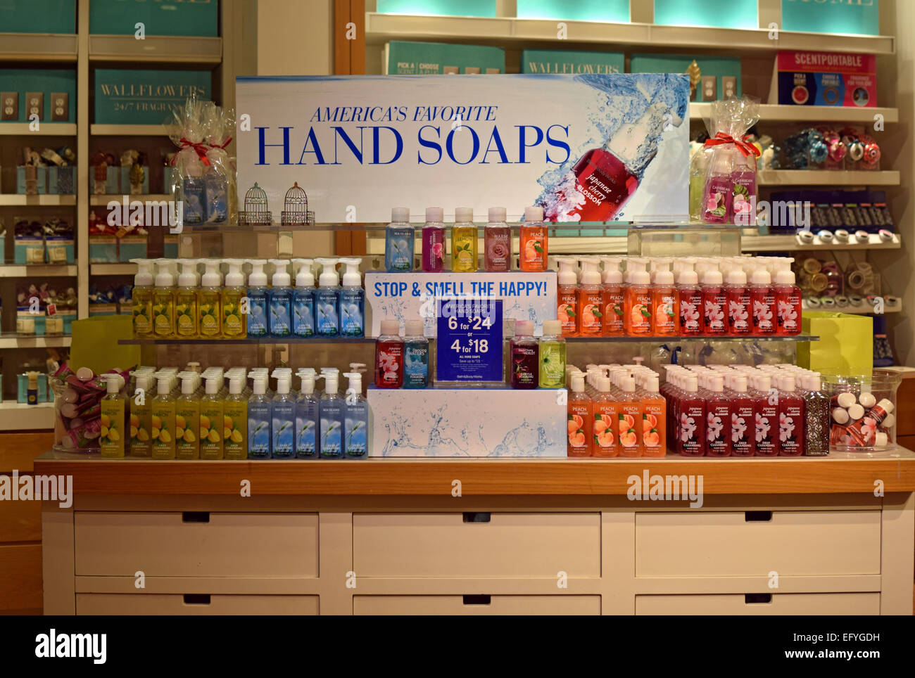 Scented soaps for sale at a Bath   Body Works store in the Roosevelt Field  Mall. Scented soaps for sale at a Bath   Body Works store in the
