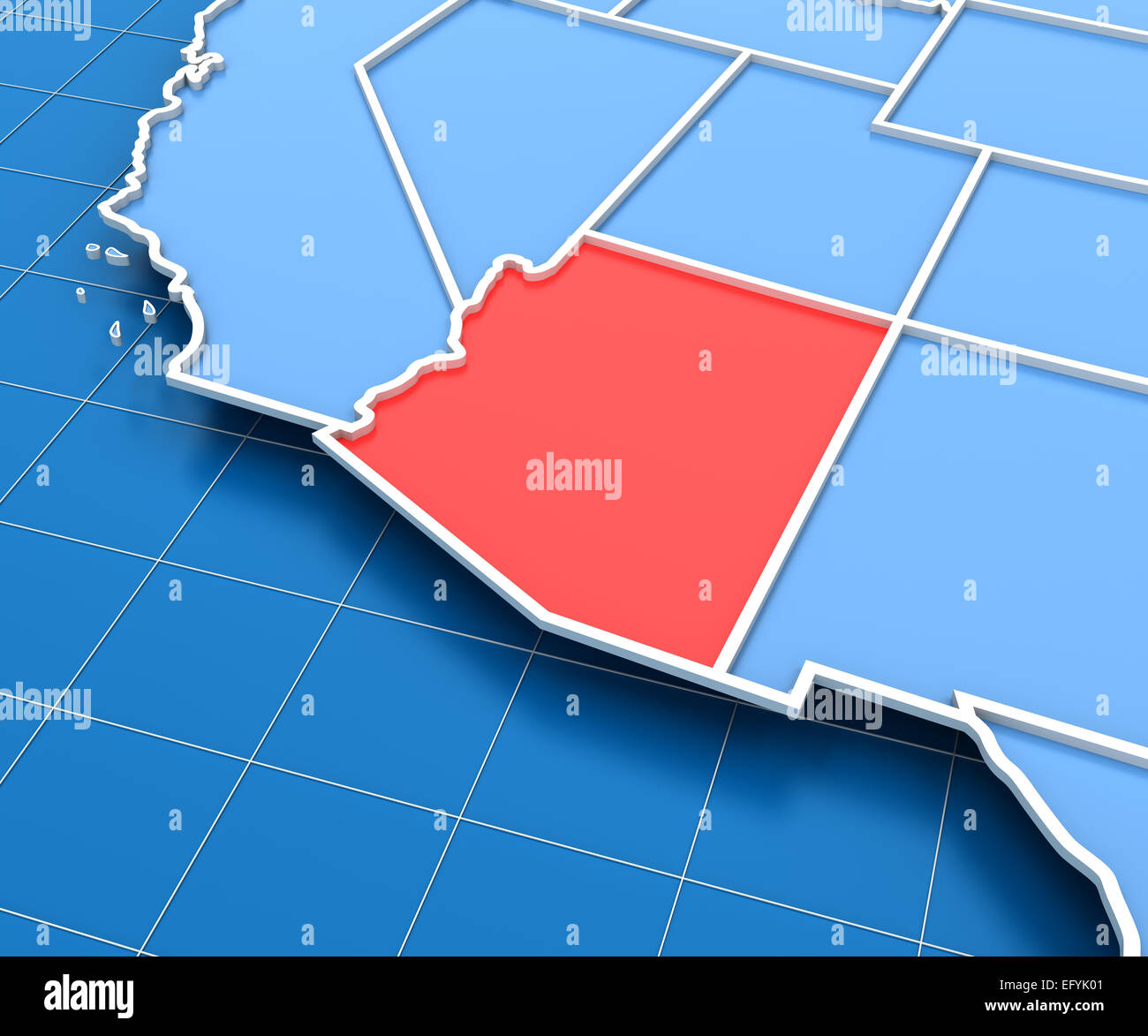 3d Render Of USA Map With Arizona State Highlighted Stock Photo - Us Map With Arizona Highlighted