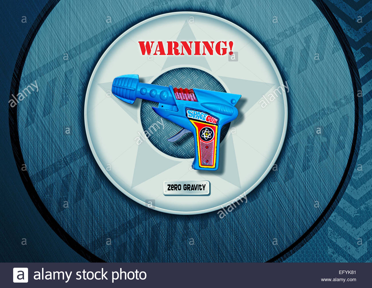 Vintage Space Ray Gun On Retro Warning Zero Gravity Background ...