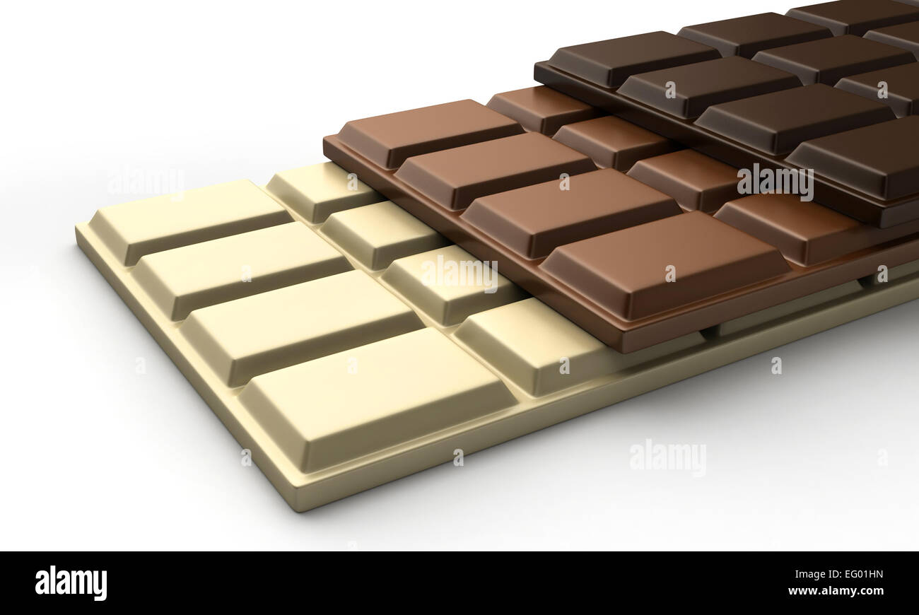 3d render of various types of chocolate bars Stock Photo, Royalty ...