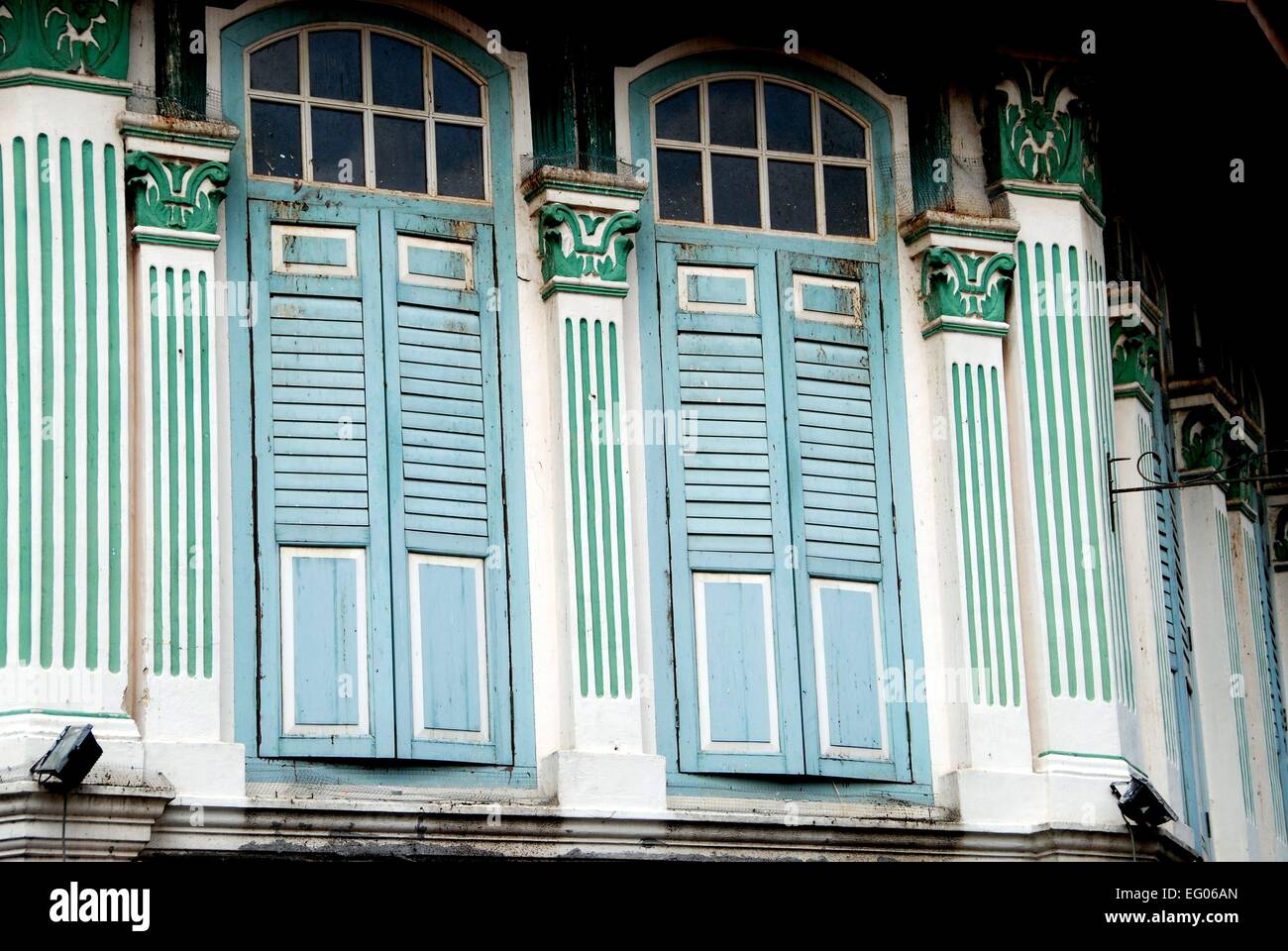 singapore: 19th century chinese shop houses with decorative stock