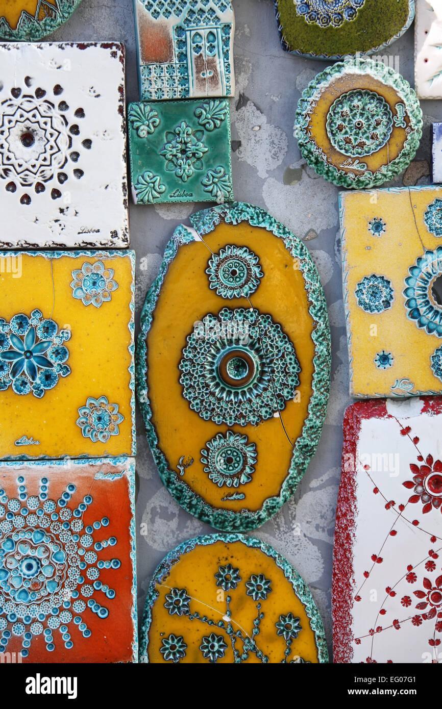 Handmade Tiles in the Alfama Neighbourhood of Lisbon Stock Photo ...