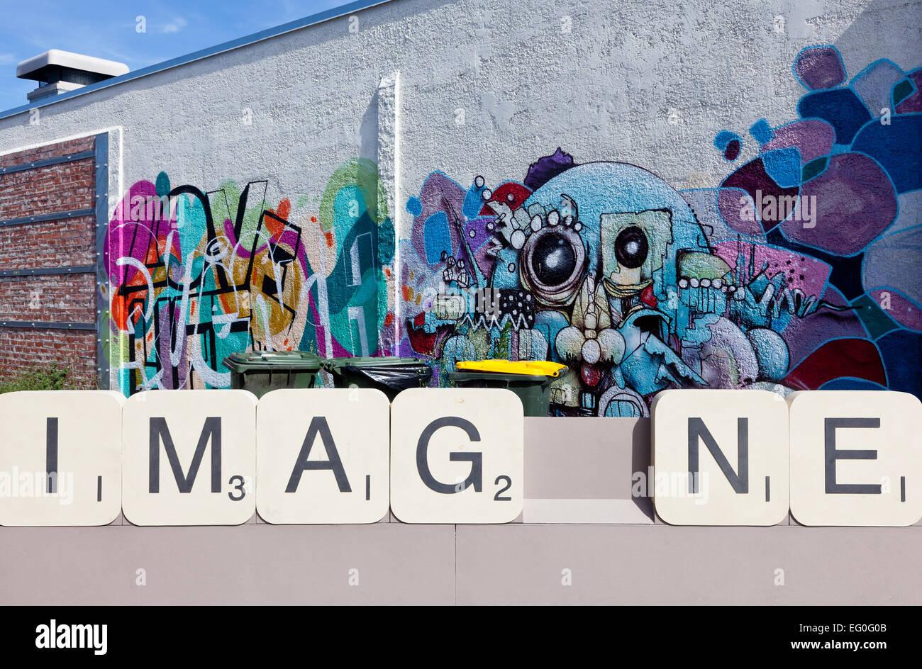 Graffiti wall christchurch - Imagine Street Art In Christchurch New Zealand Stock