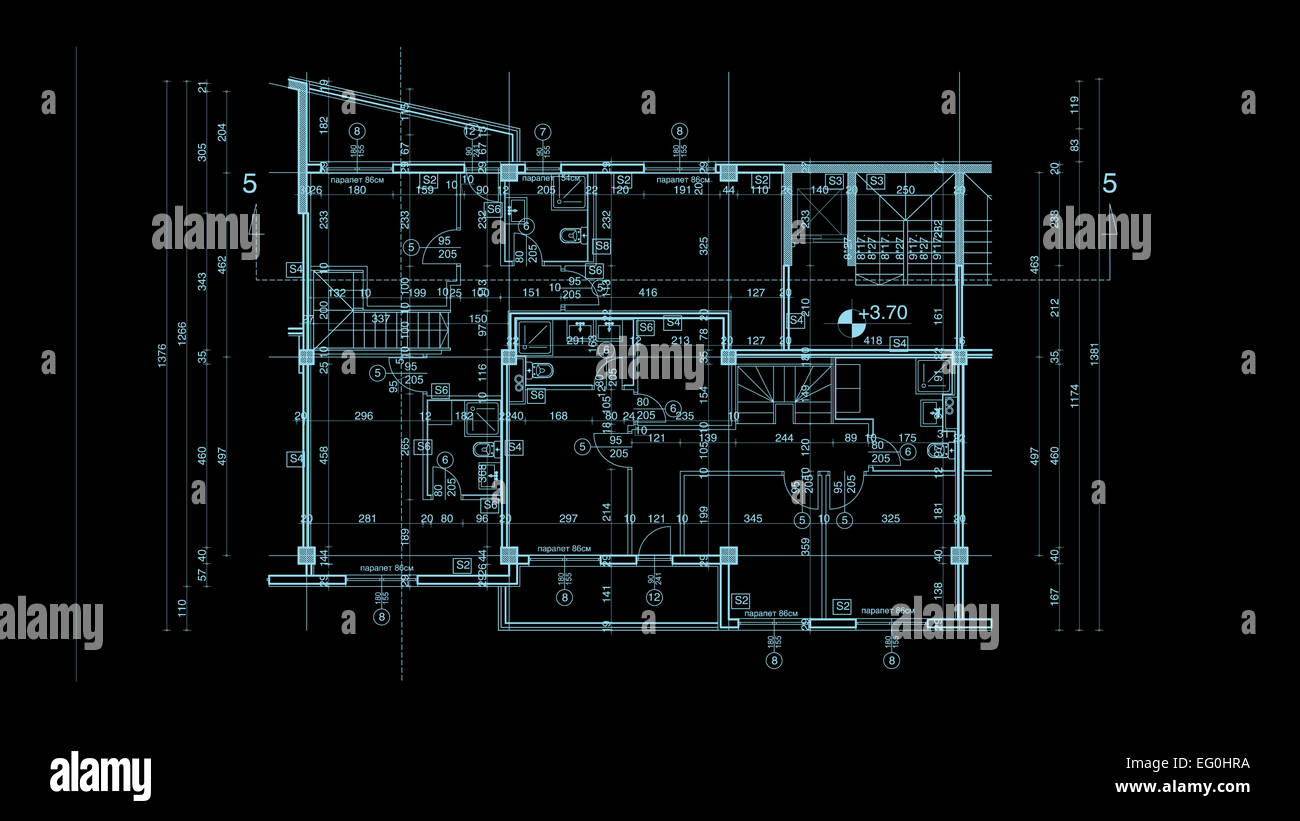 Abstract Architecture Blueprint On Black Background Made In 2d Software