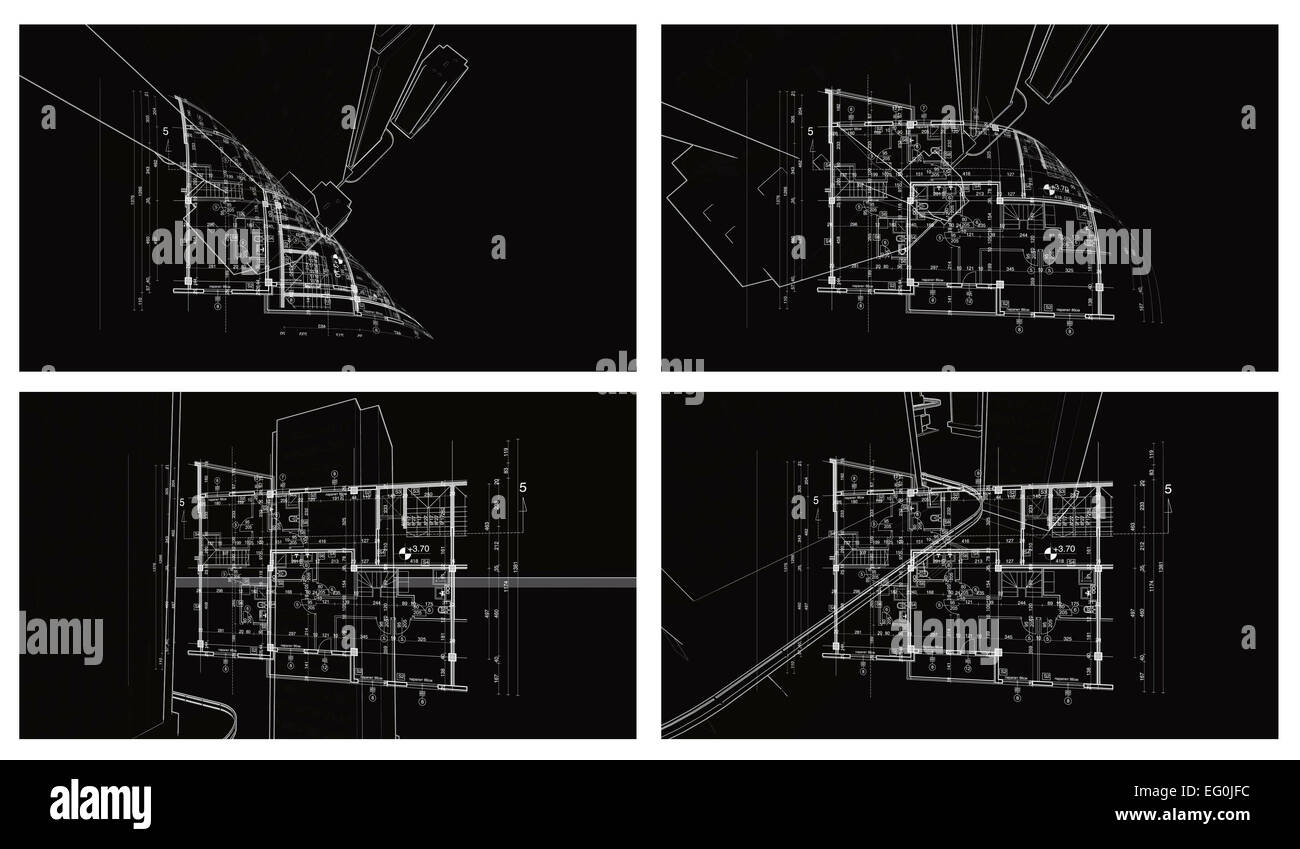 Abstract architecture backgroundfour blueprint house plan with abstract architecture backgroundfour blueprint house plan with sketch of sity animated in background malvernweather Images