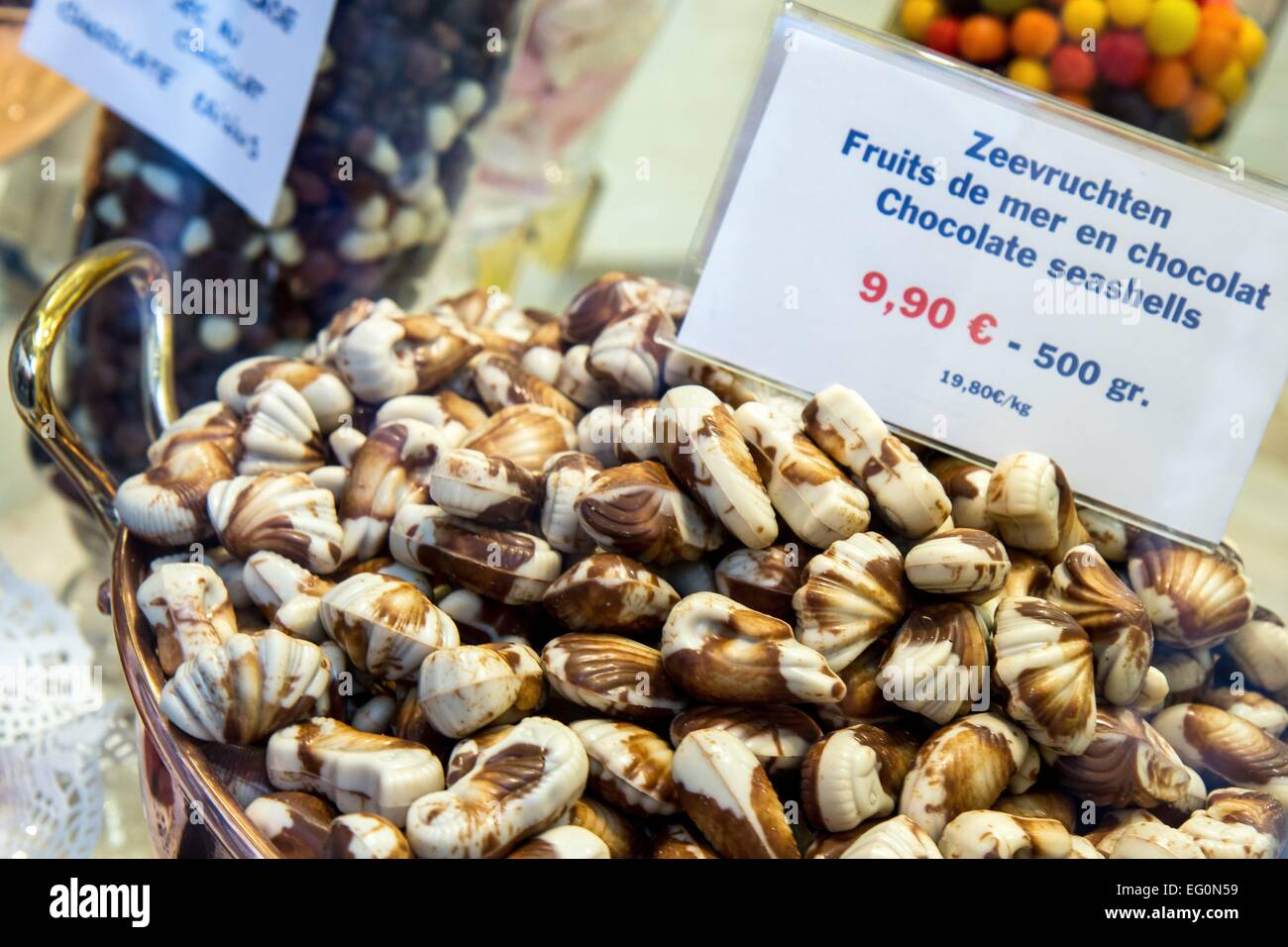 Belgium: Belgian chocolate (Fruits de mer) in confectionery shop ...