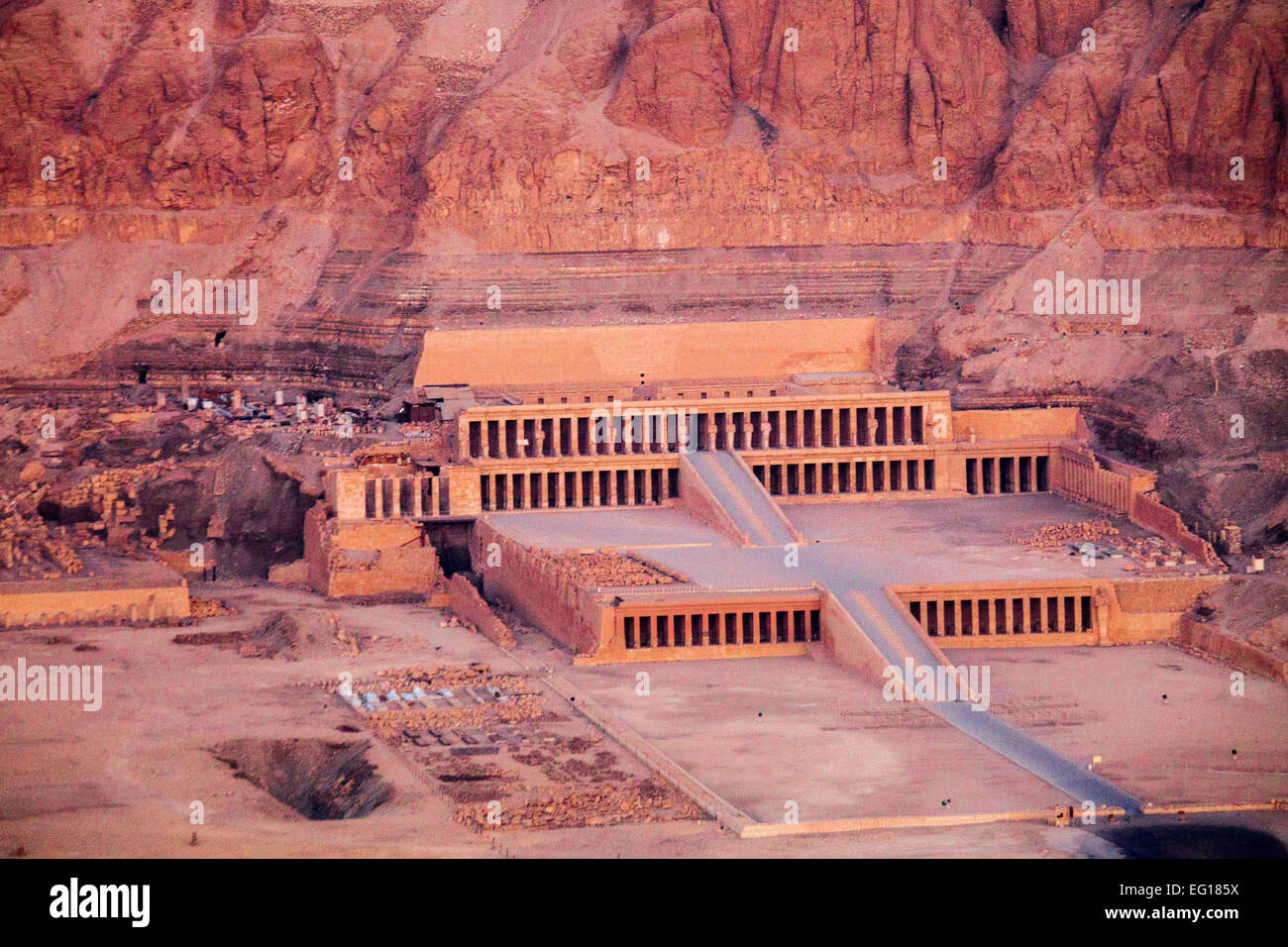 Aerial view of the Temple of Queen Hatshepsut in Deir el ...