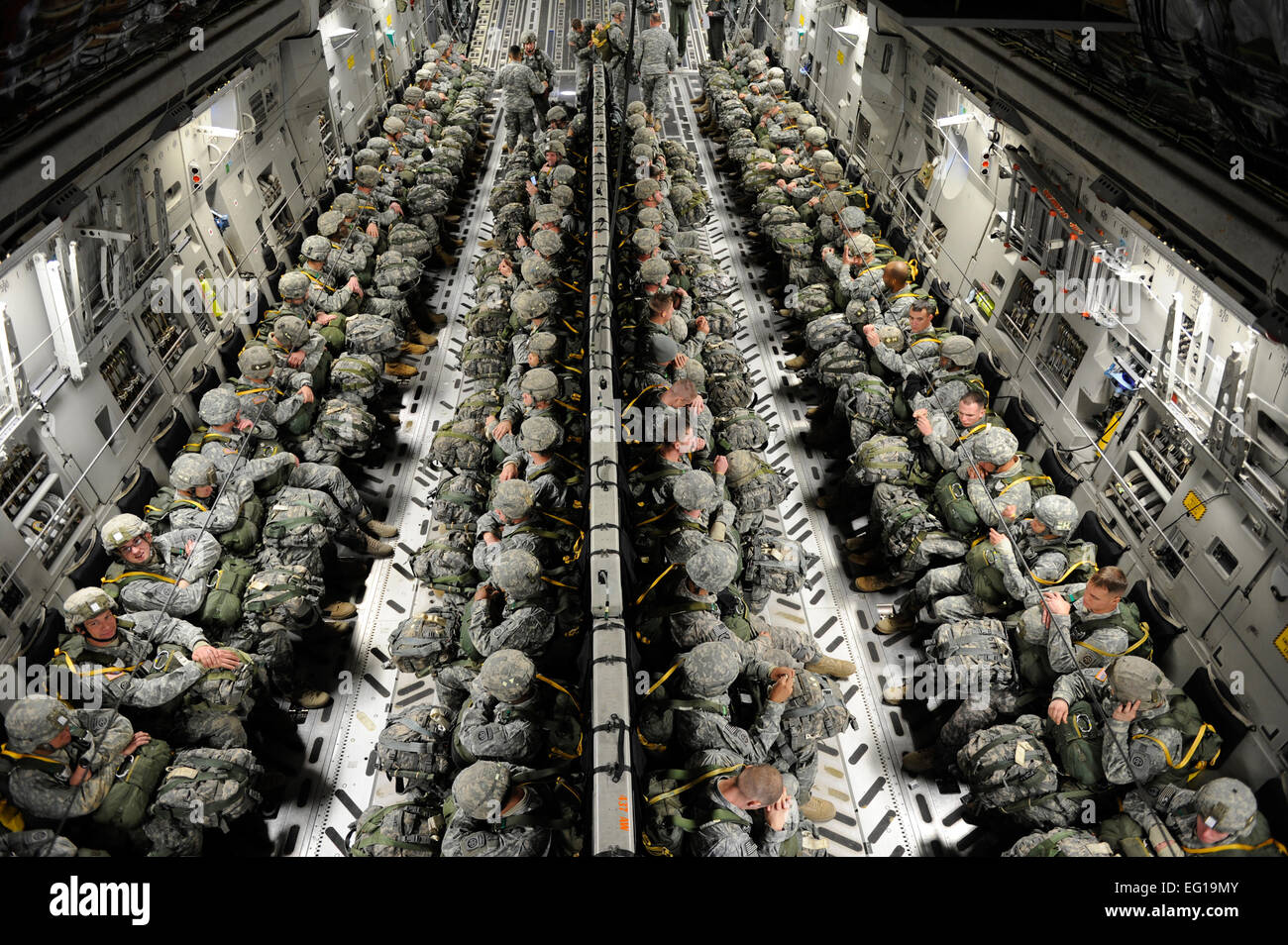 From The 82nd Airborne Division Sit Strapped Into A Us Air Force C17  Globemaster Iii Cargo Aircraft Before They Airdrop During The Joint  Operational