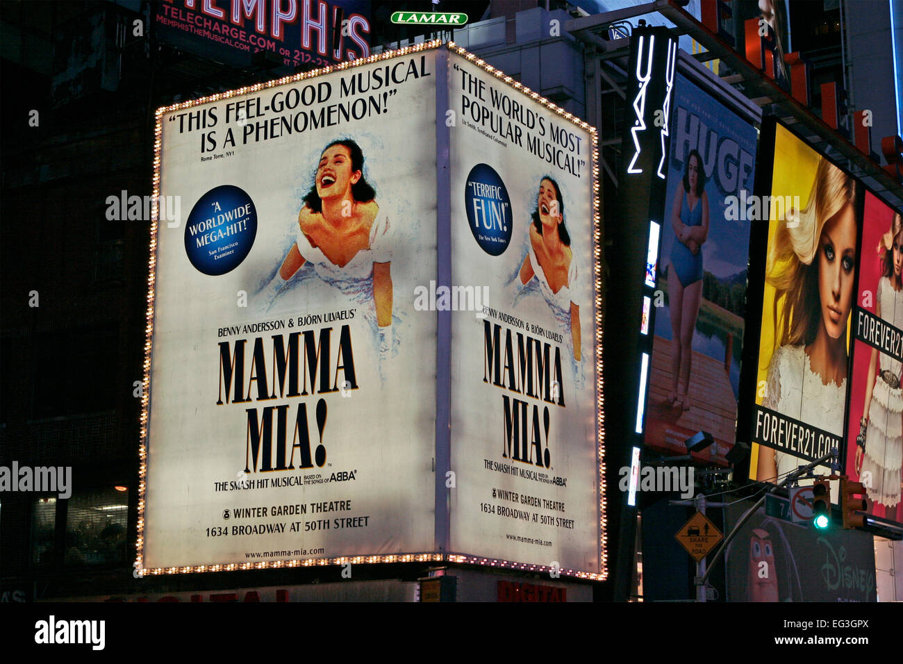 mamma mia musical billboard at times square theater district by