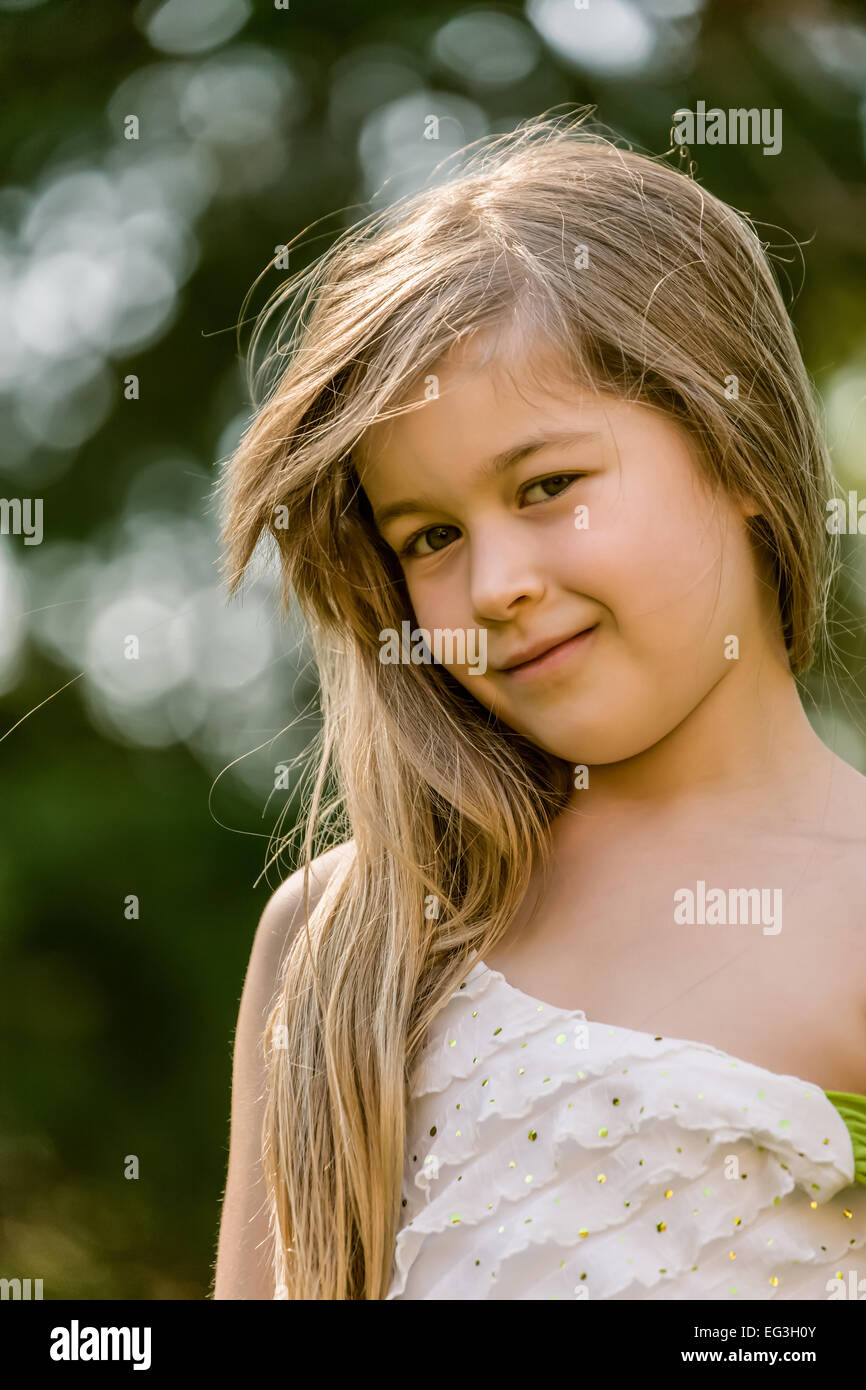 Seven Year Old With Long Hair Portrait Of Seven Year Old