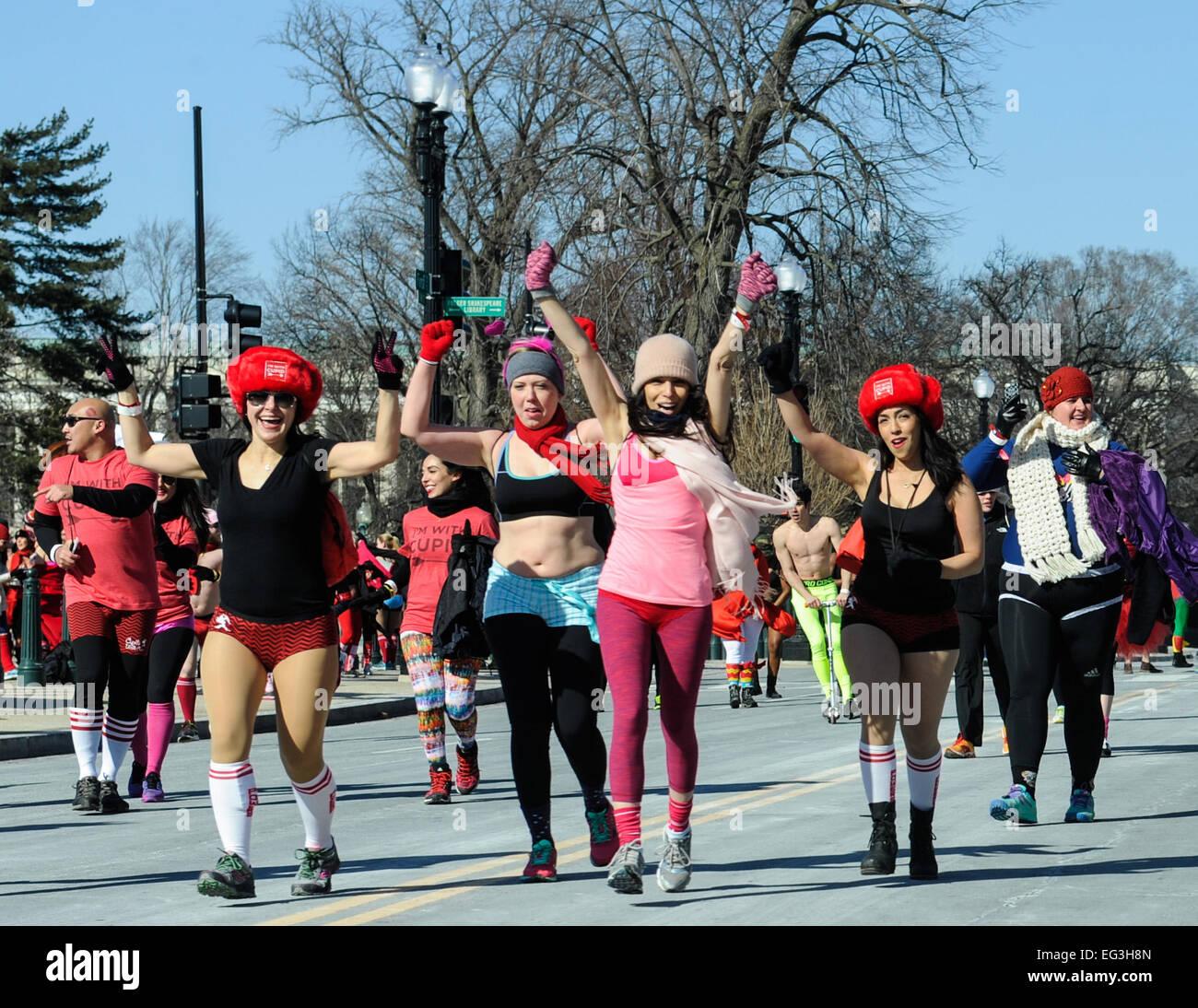 Washington, DC, USA. 15th Feb, 2015. Half-naked runners