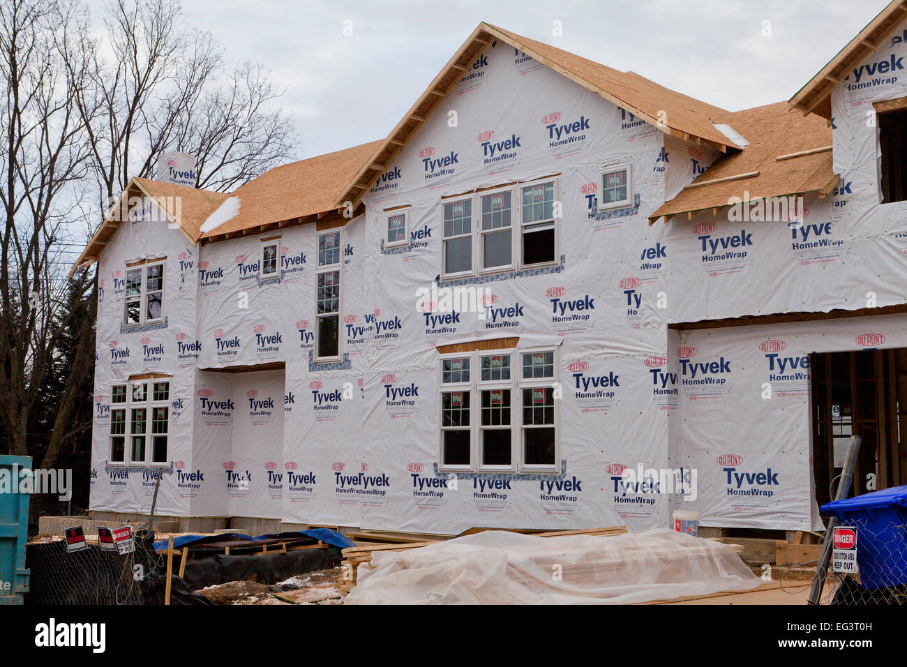 Dupont tyvek house wrap applied on new home construction for New house construction