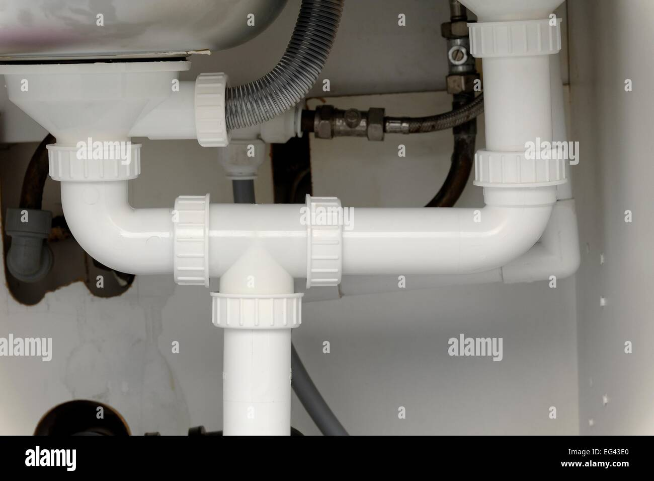 White Plastic Pipework Under A Domestic Kitchen Sink England UK   Stock  Image