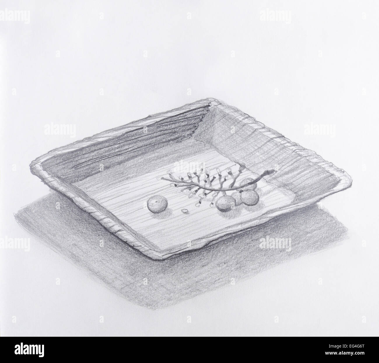 Pencil Drawing Of Eaten Up Wine Grapes In A Wooden Square Plate