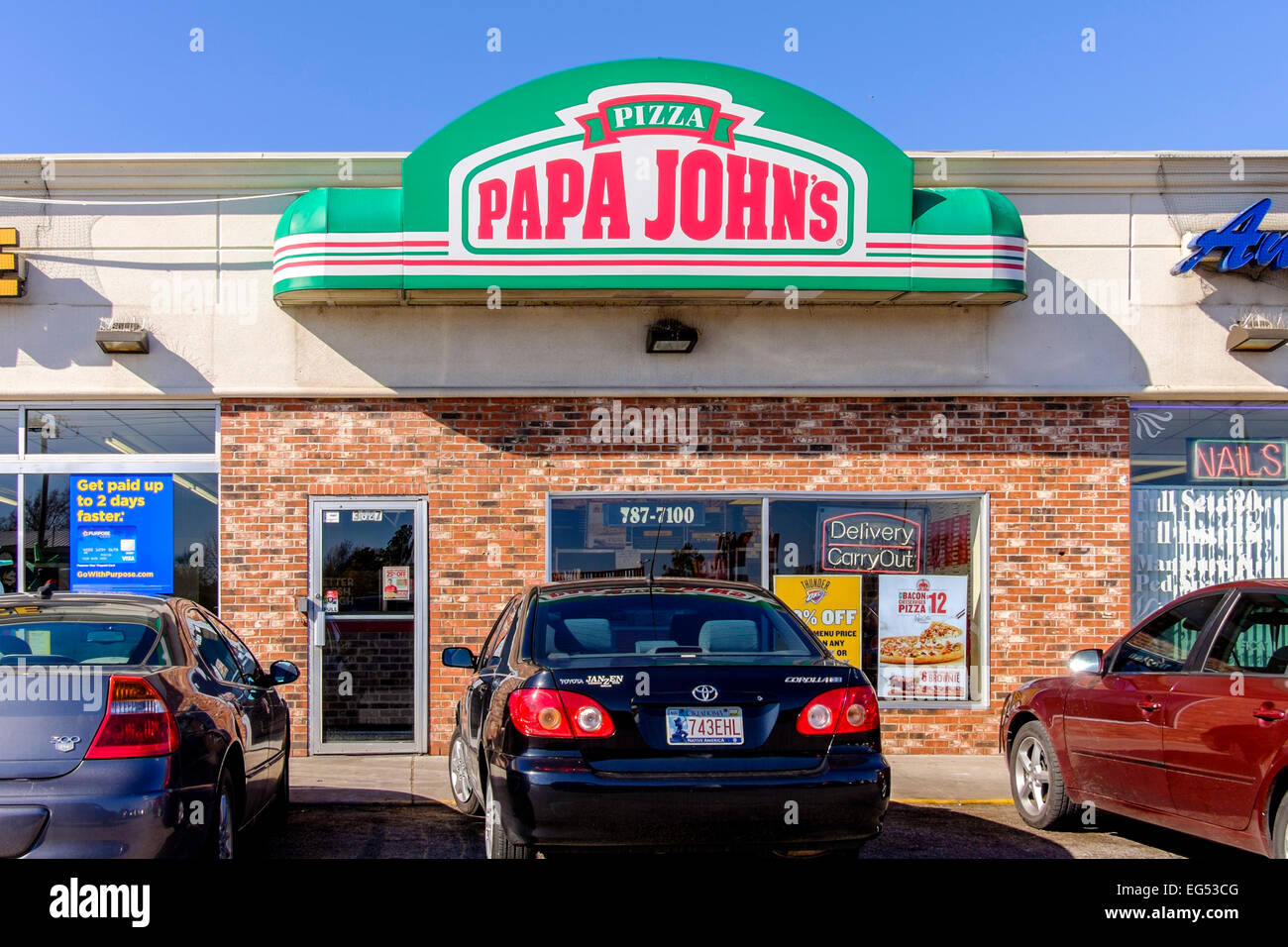 pizza parlor stock photos pizza parlor stock images alamy papa john s pizza in oklahoma city oklahoma usa a take and bake at
